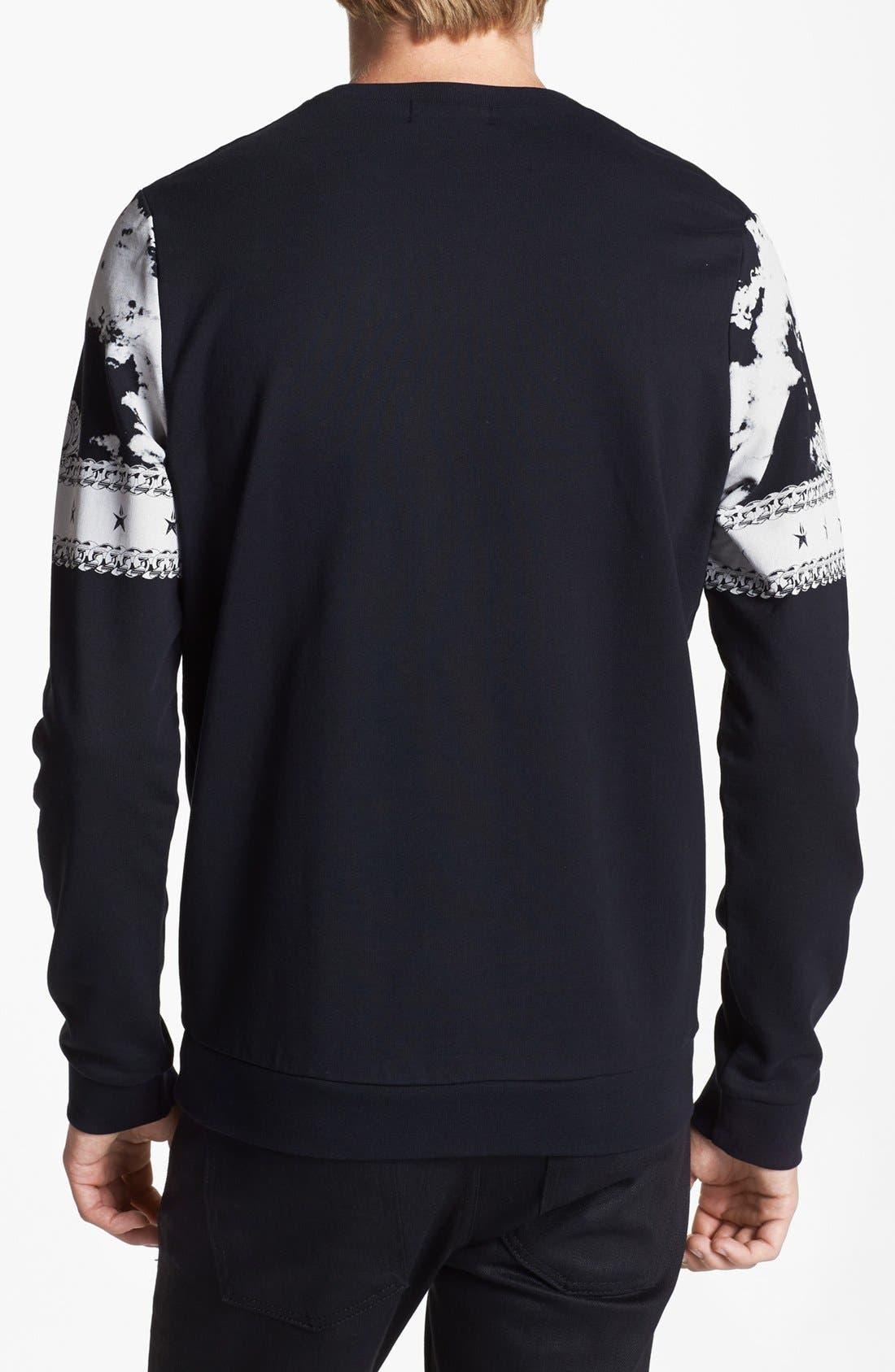 Alternate Image 2  - Topman Baroque Print Crewneck Sweatshirt