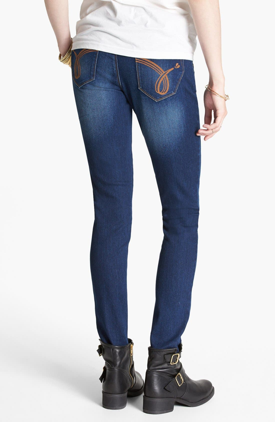 Alternate Image 2  - Jolt Faded Skinny Jeans (Dark) (Juniors) (Online Only)