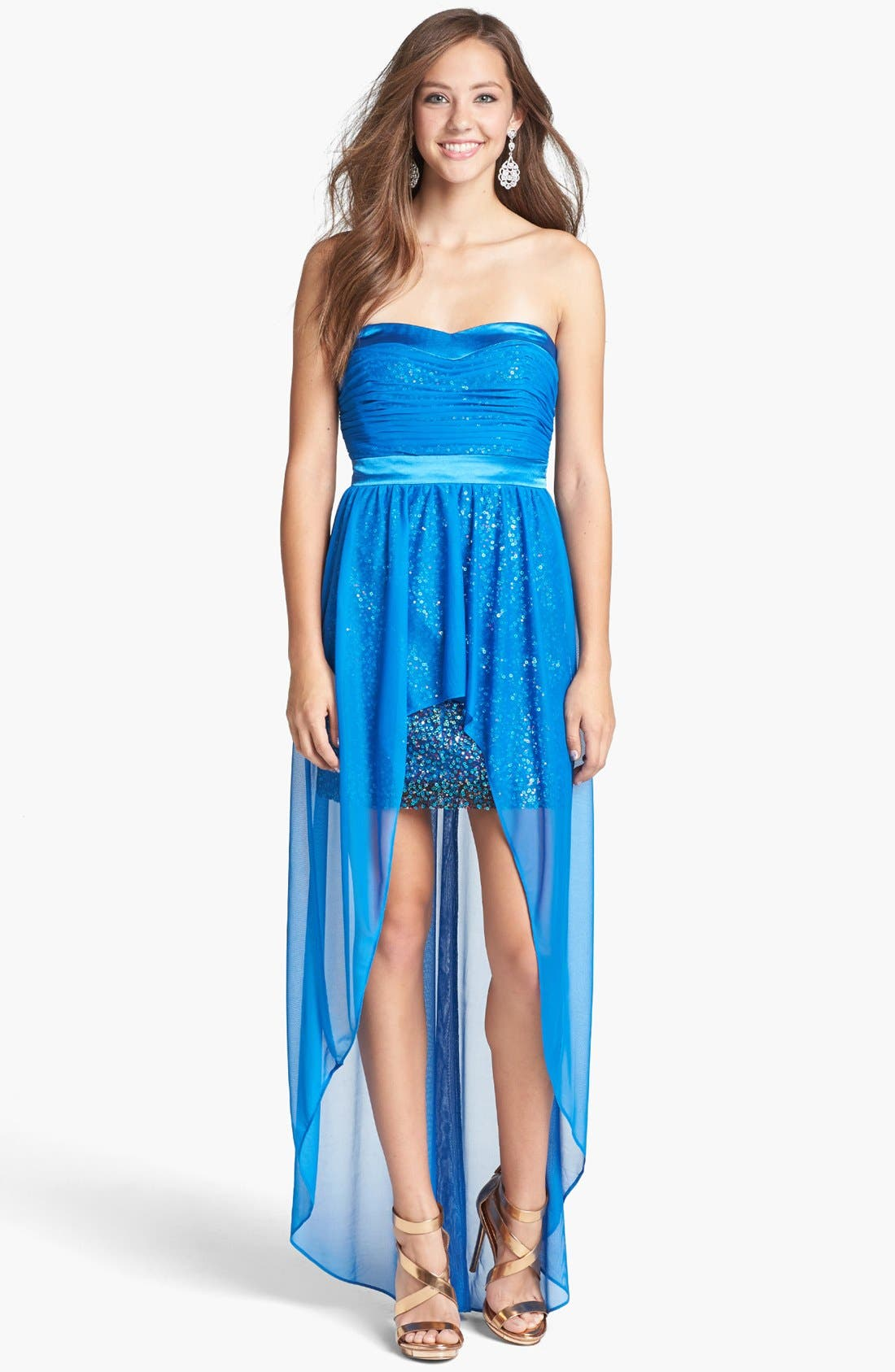 Alternate Image 1 Selected - Hailey Logan Chiffon Overlay Sequin Dress (Juniors) (Online Only)