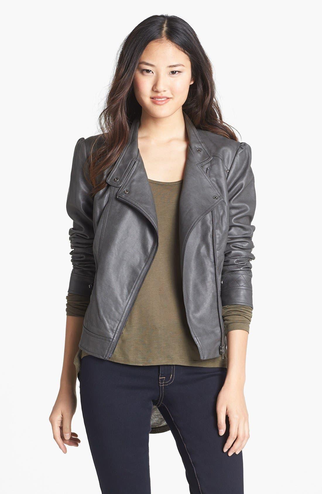 Alternate Image 1 Selected - Jessica Simpson 'Trey' Faux Leather Moto Jacket
