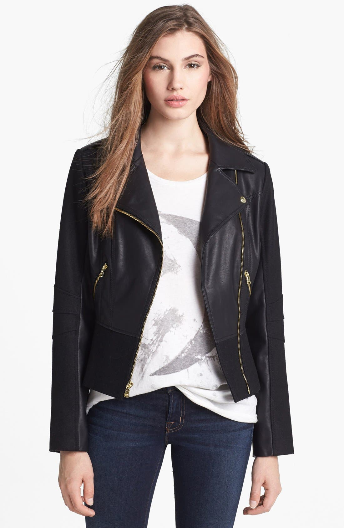 Alternate Image 1 Selected - GUESS Faux Leather & Wool Blend Moto Jacket