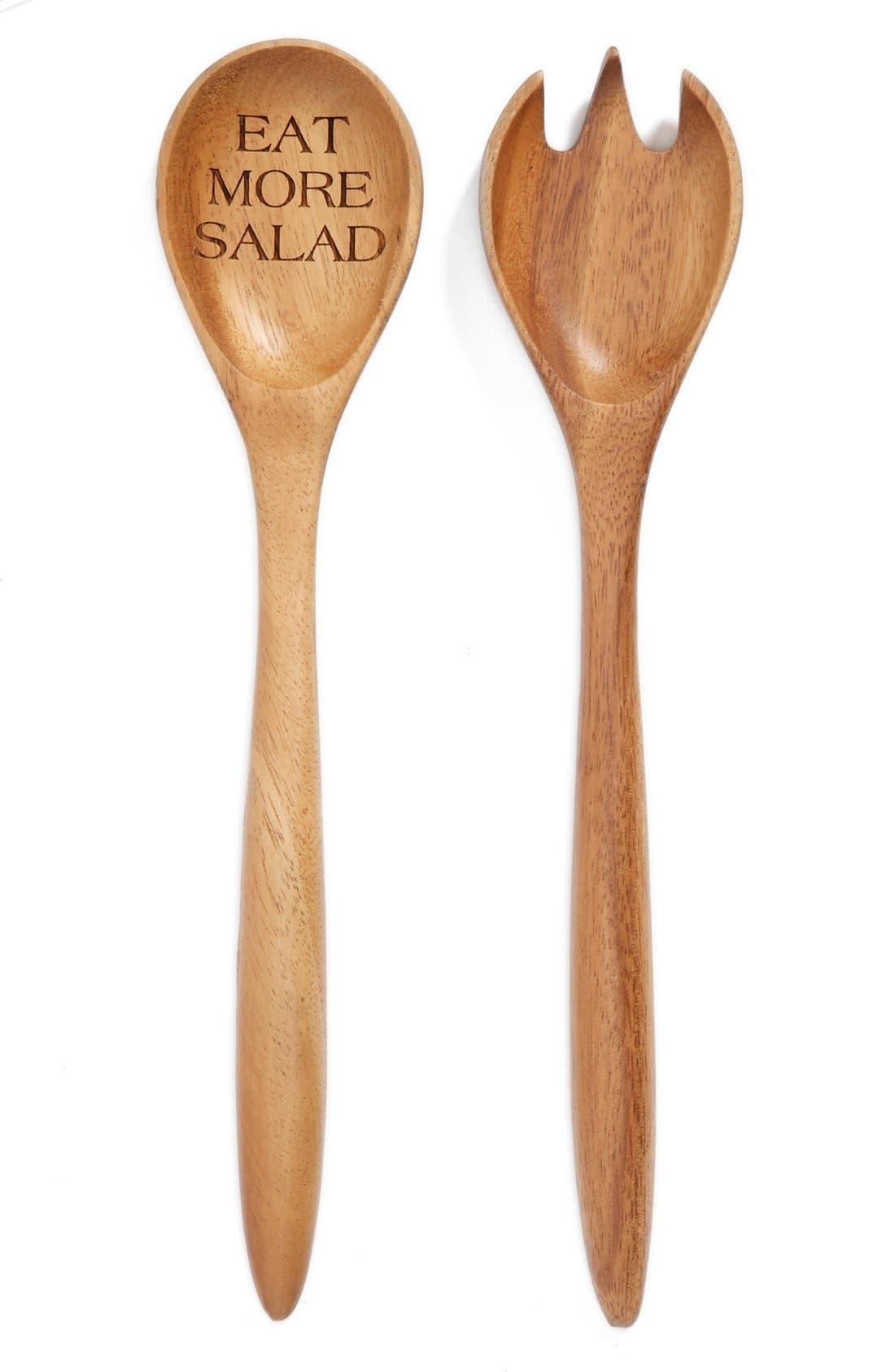 Main Image - Milk and Honey Luxuries 'Eat More Salad' Wooden 2-Piece Salad Serving Set