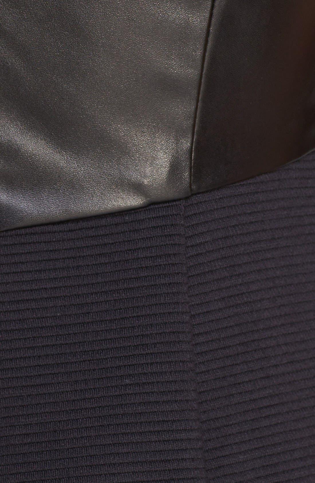 Alternate Image 3  - Isaac Mizrahi New York Faux Leather & Knit Sheath
