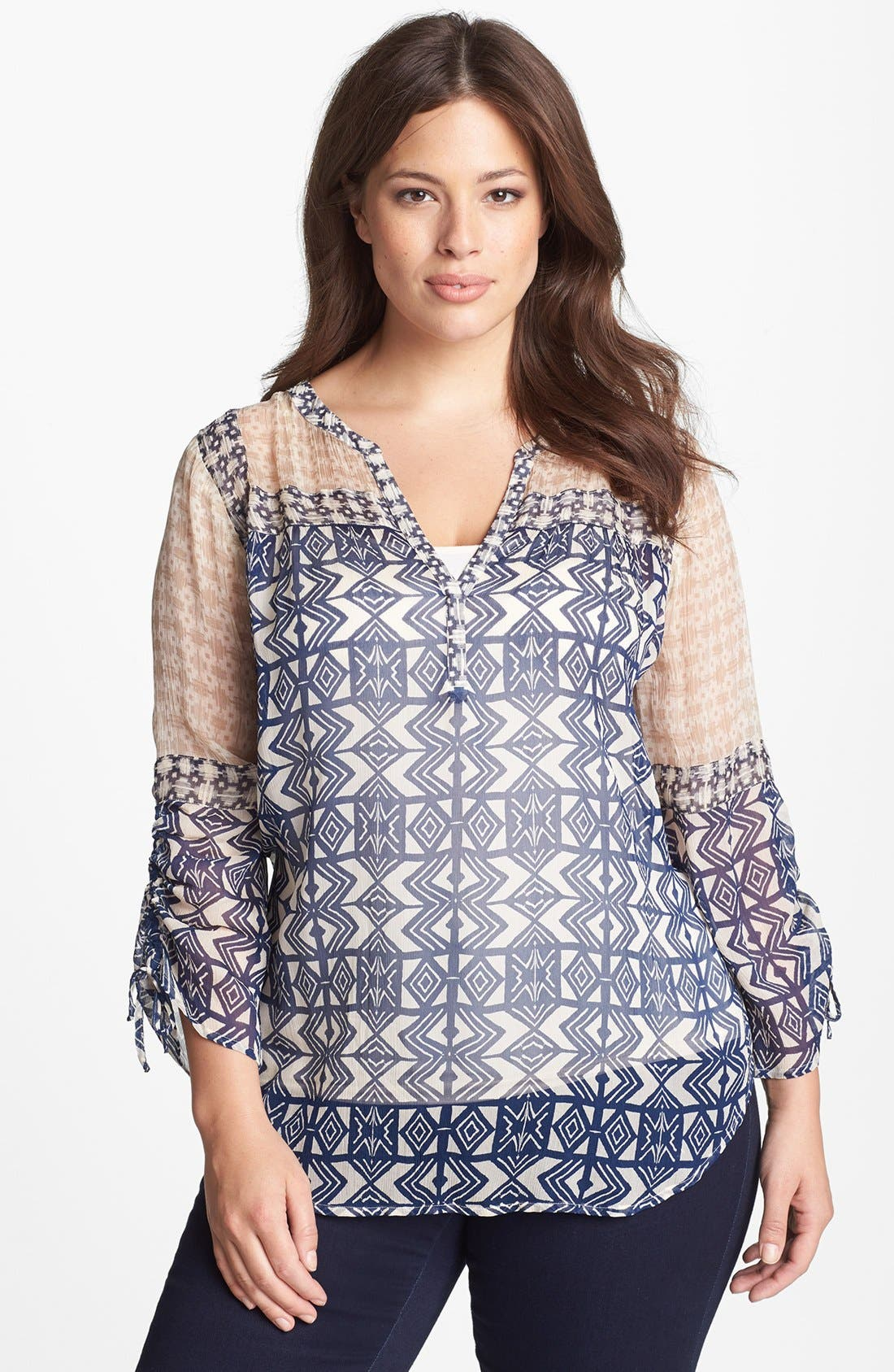 Alternate Image 1 Selected - Lucky Brand Mixed Print Peasant Top (Plus Size)