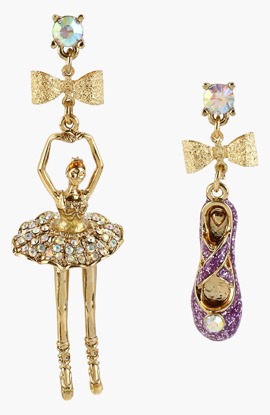 Alternate Image 1 Selected - Betsey Johnson 'Terrific Tutus' Ballerina & Slipper Earrings