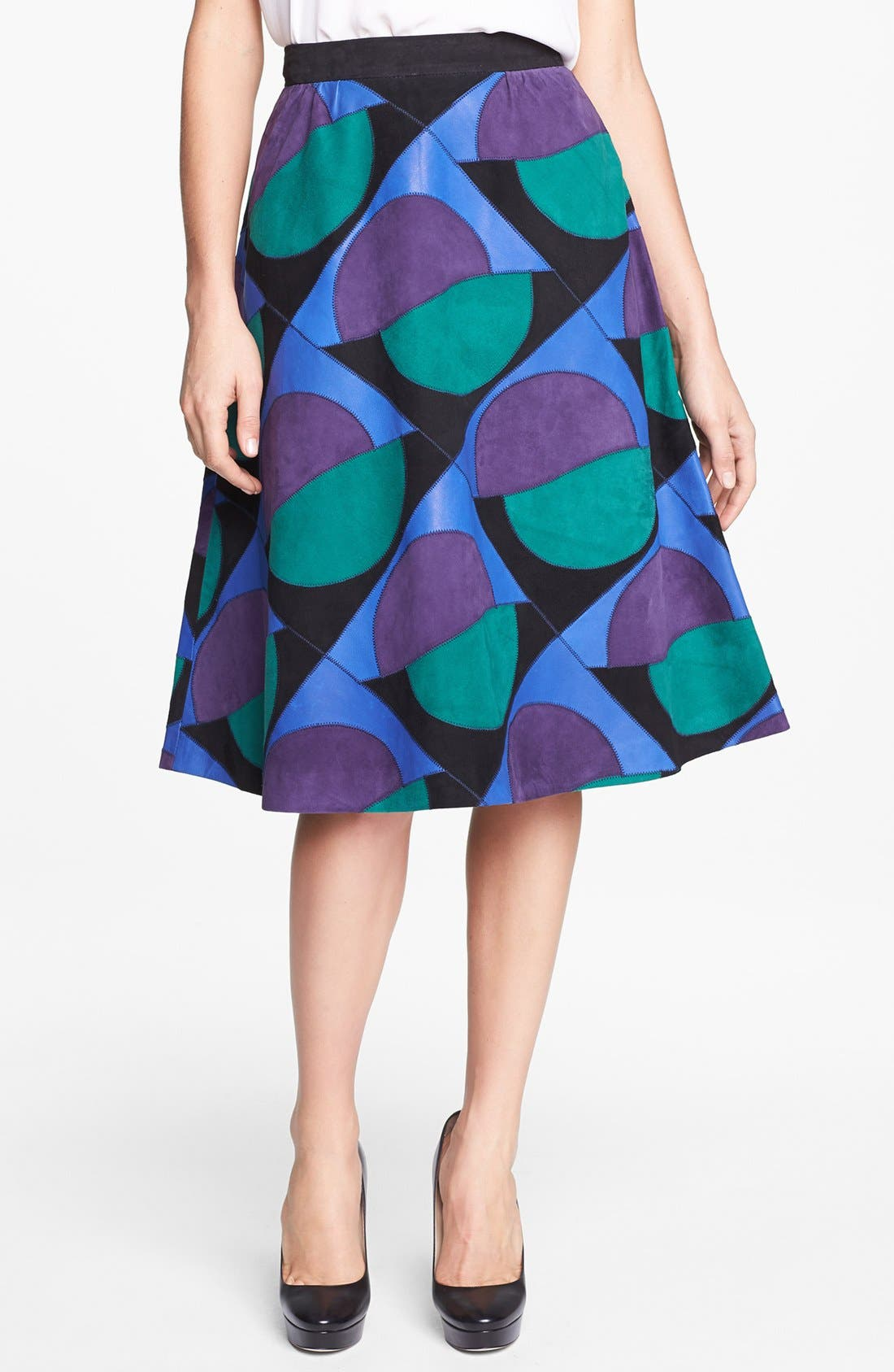 Alternate Image 1 Selected - MARC BY MARC JACOBS 'Luna Patchwork' Suede Skirt