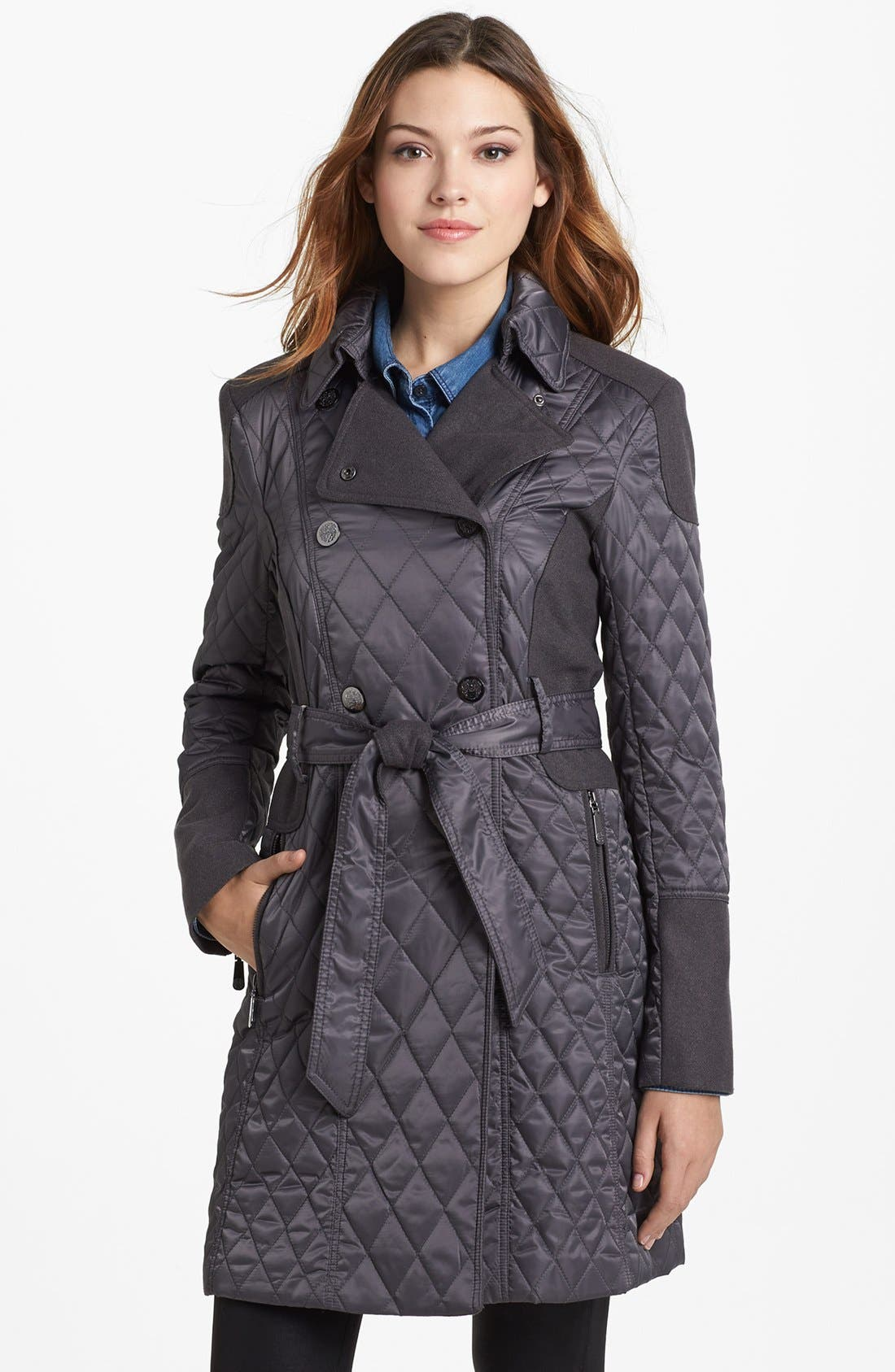 Alternate Image 1 Selected - Vince Camuto Contrast Trim Quilted Coat