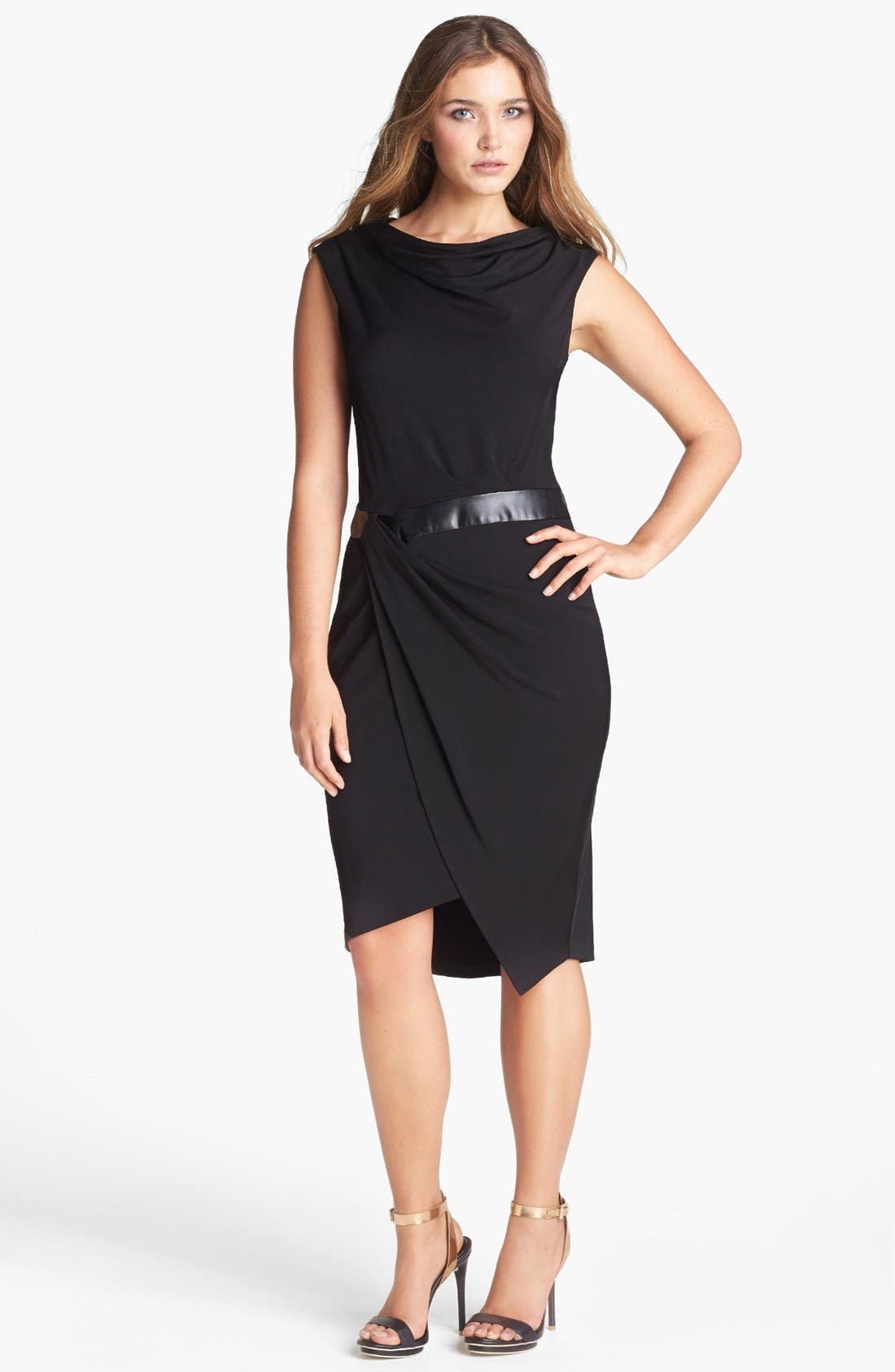 Alternate Image 1 Selected - Vera Wang Faux Leather Inset Drape Jersey Dress