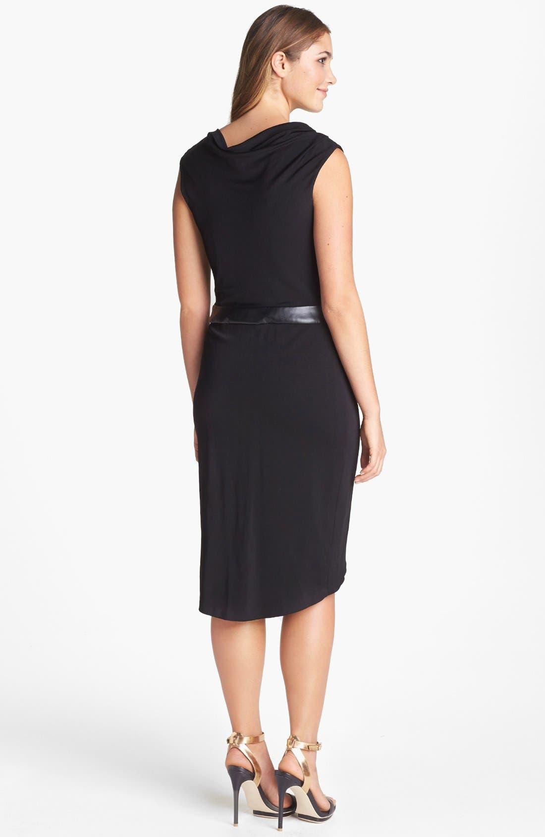 Alternate Image 2  - Vera Wang Faux Leather Inset Drape Jersey Dress