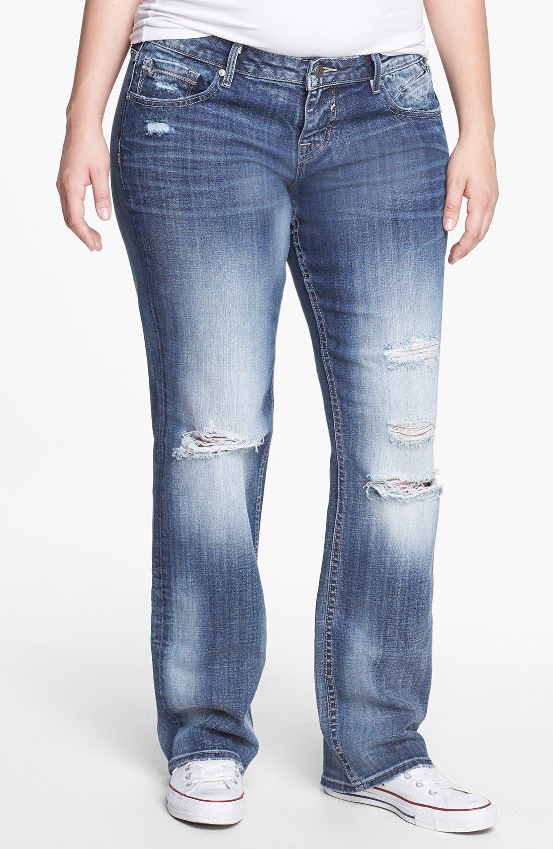 Main Image - Vigoss Destroyed Straight Leg Jeans (Juniors Plus)