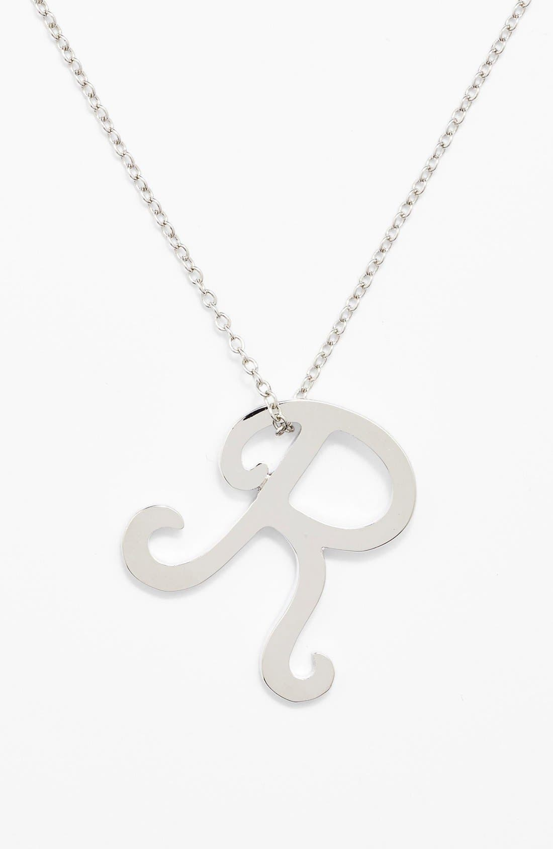 Main Image - Ariella Collection Silver Scroll Initial Pendant Necklace