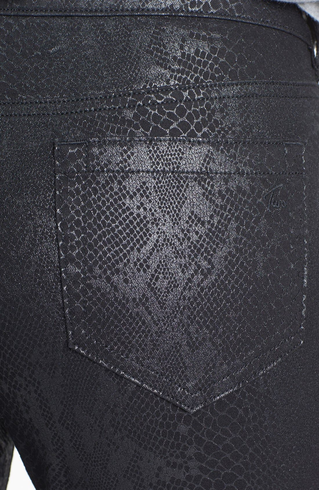 Alternate Image 3  - Two by Vince Camuto Foiled Snakeskin Print Skinny Jeans