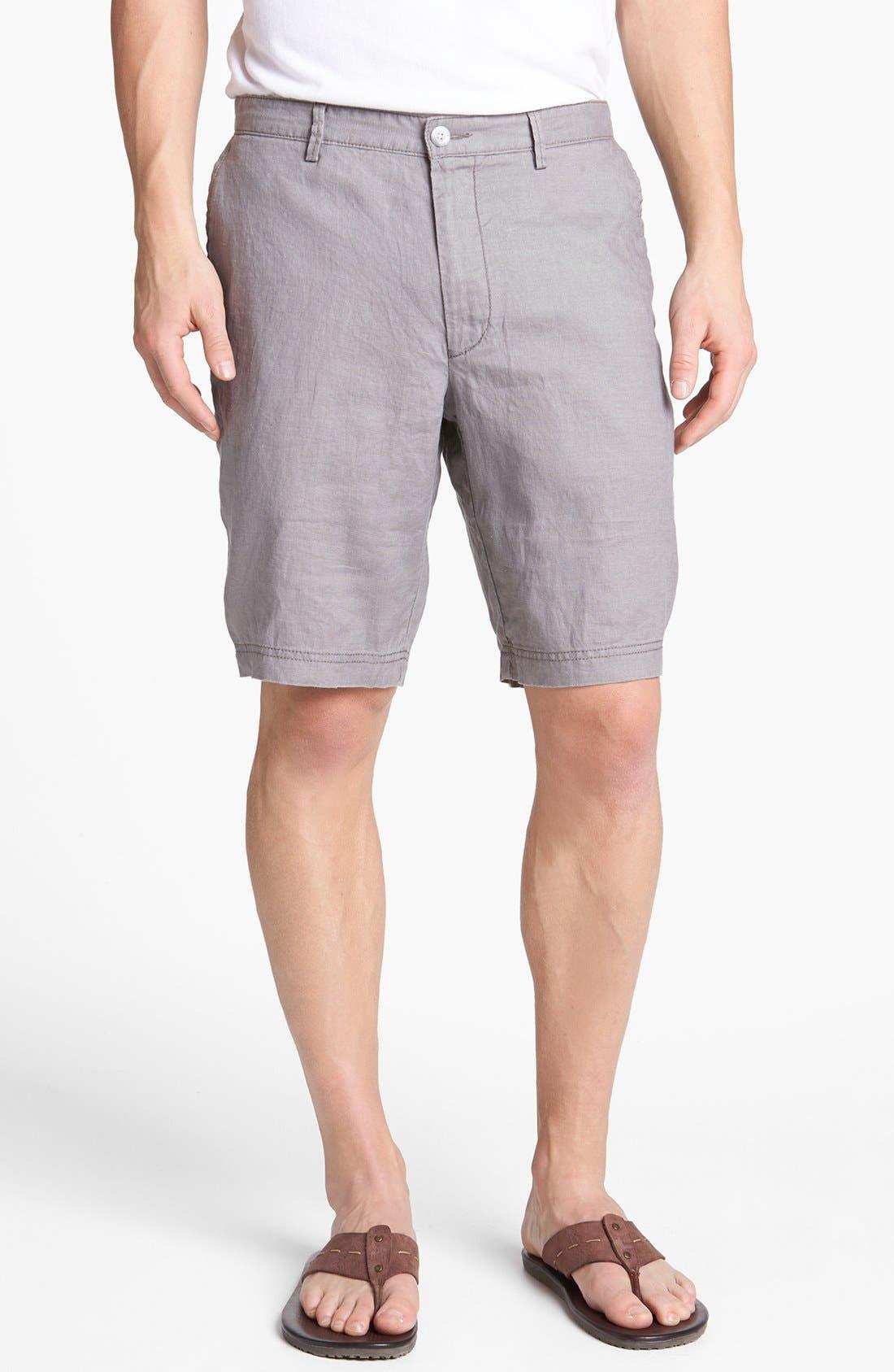 Main Image - BOSS HUGO BOSS 'Clyde' Flat Front Linen Shorts