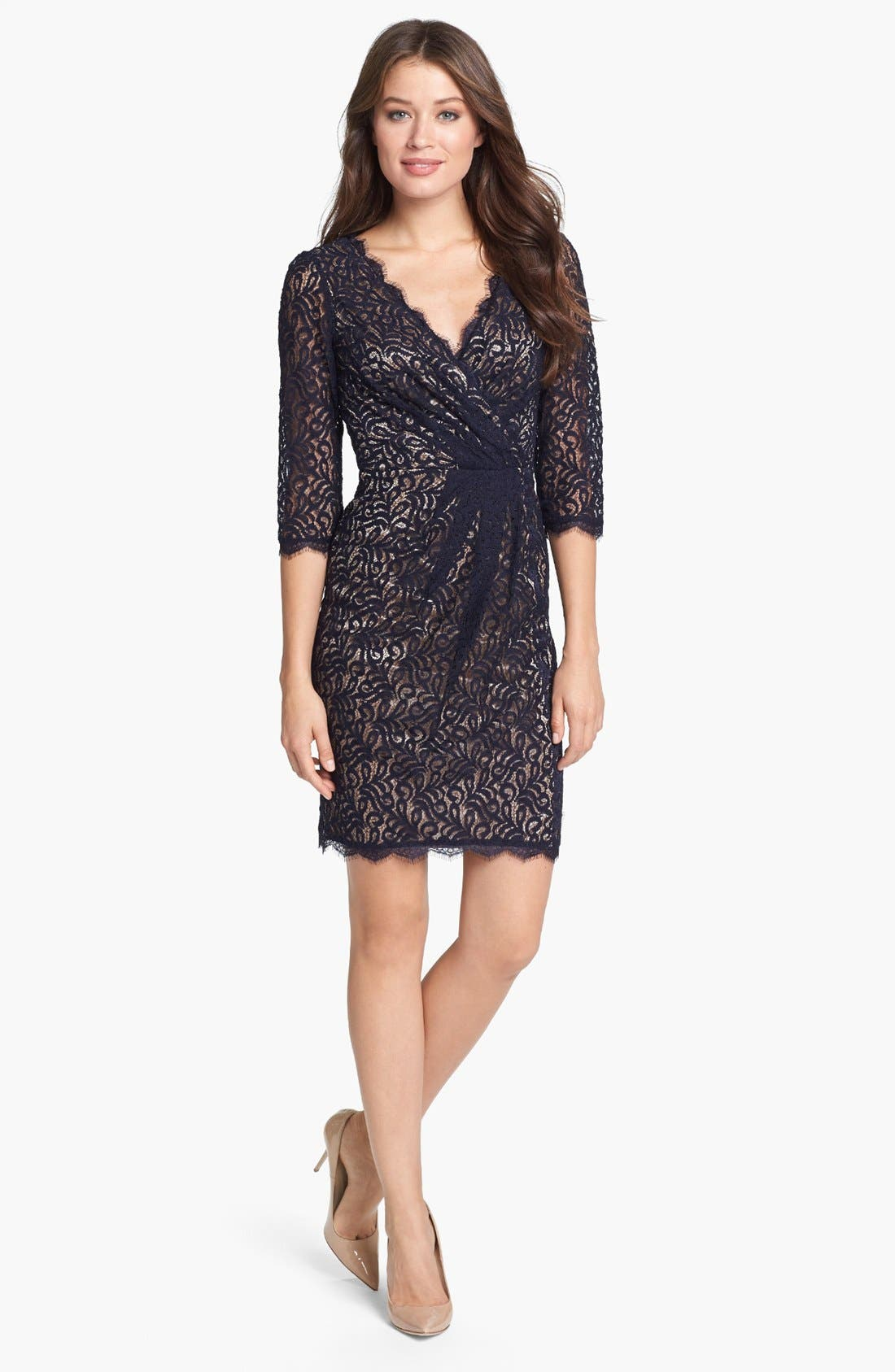 Alternate Image 1 Selected - Adrianna Papell Lace Faux Wrap Dress