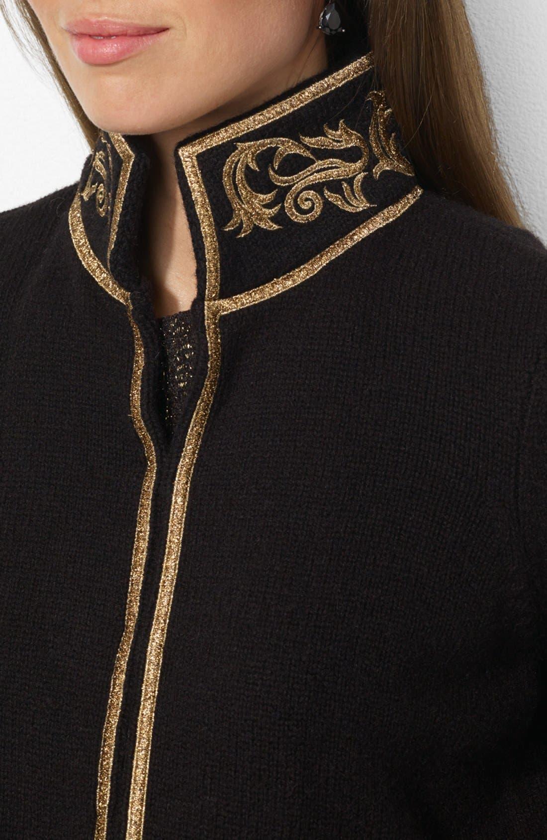 Alternate Image 3  - Lauren Ralph Lauren Embroidered Collar Cardigan