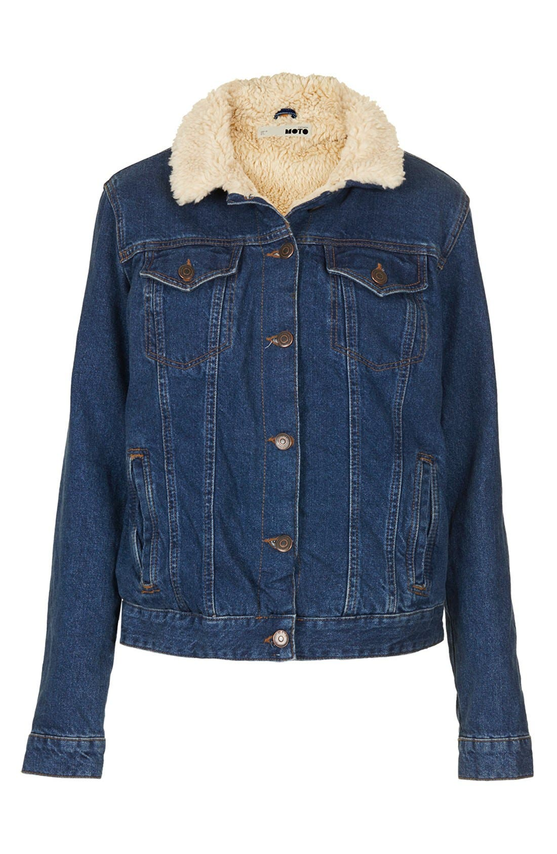 Alternate Image 3  - Topshop Moto Fleece Lined Denim Jacket