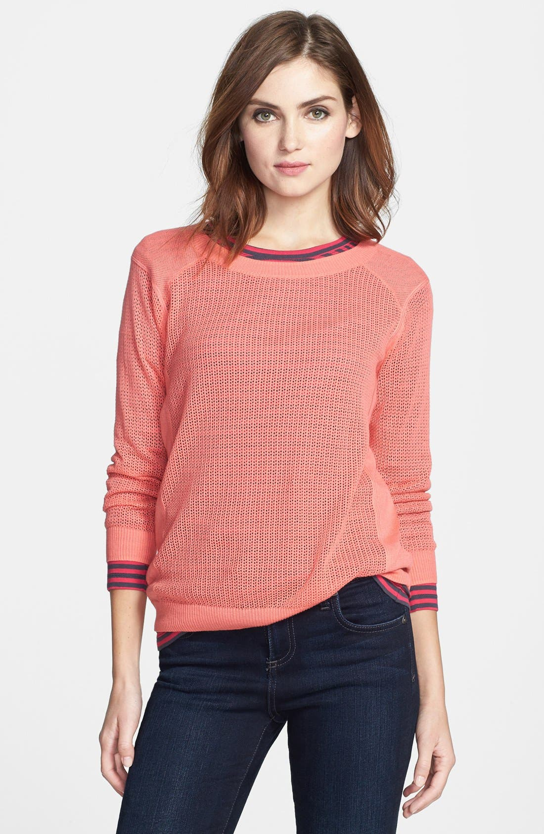 Main Image - Halogen® Three Quarter Sleeve Textured Sweater