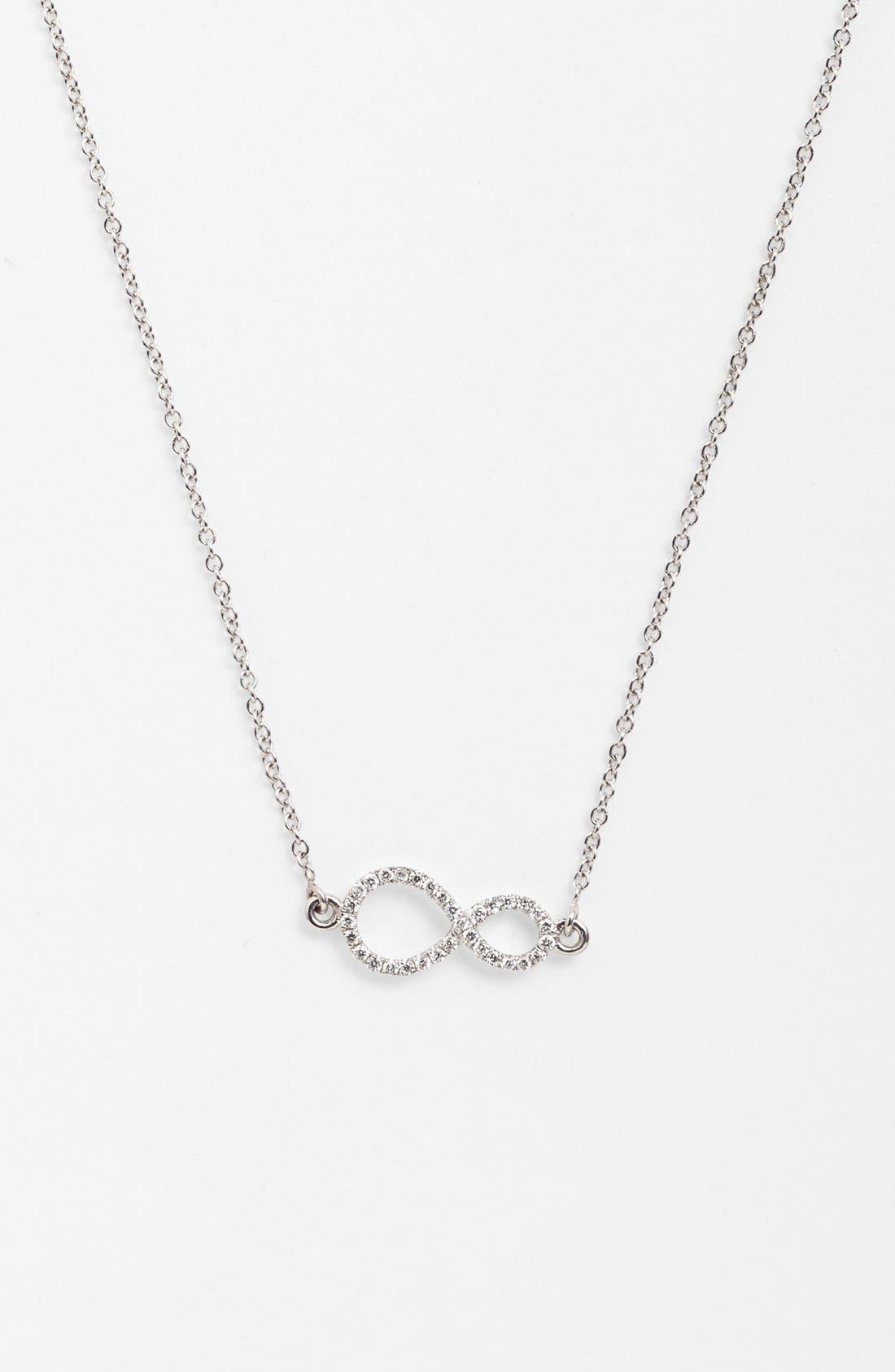 Main Image - Bony Levy Pavé Diamond Sideways Infinity Symbol Pendant Necklace (Nordstrom Exclusive)