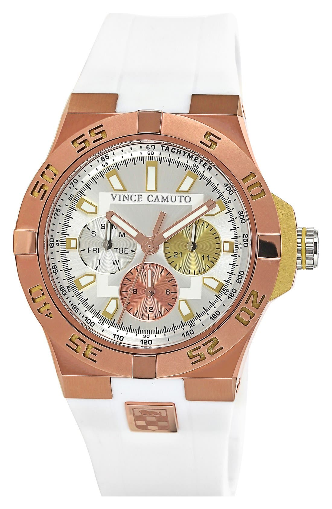 Alternate Image 1 Selected - Vince Camuto Chronograph Silicone Strap Watch, 43mm