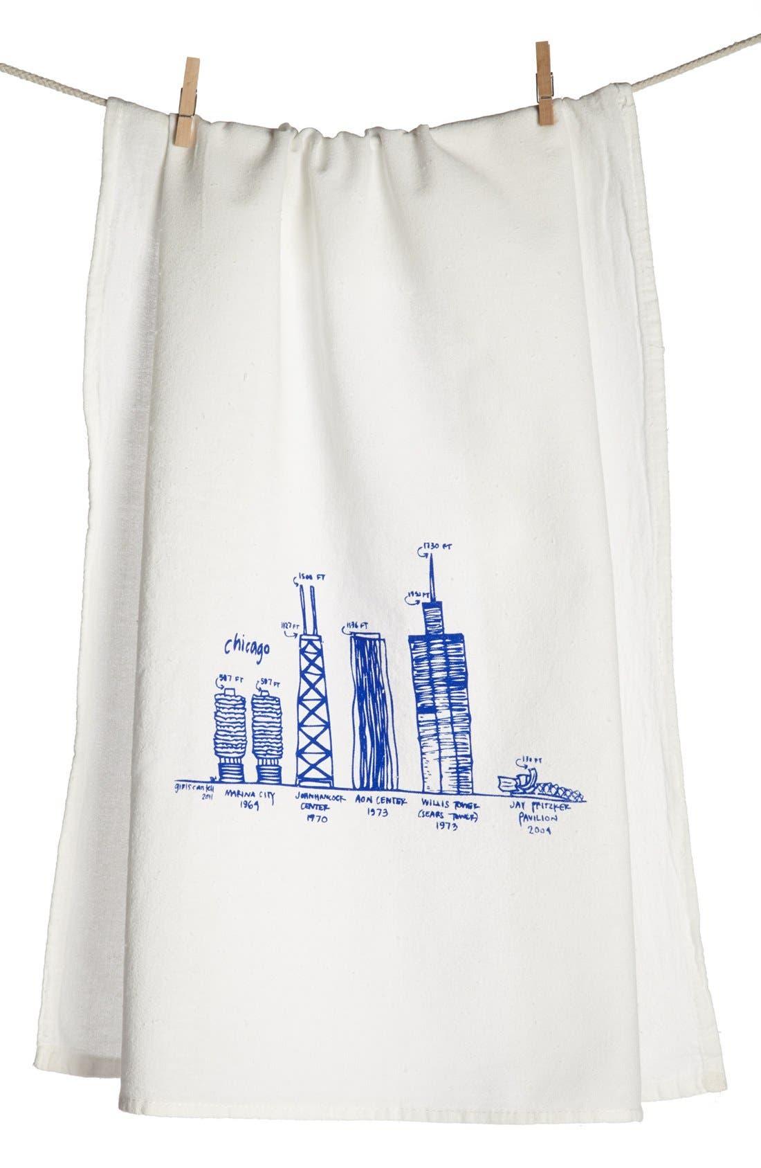 Main Image - Girls Can Tell 'Chicago Skyline' Tea Towel