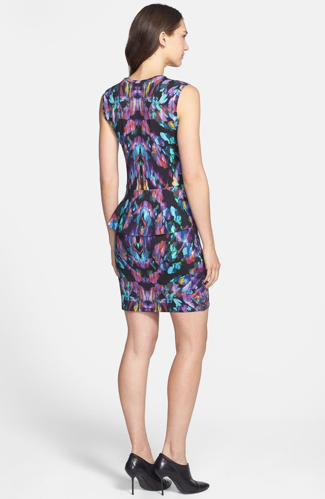 Alternate Image 2  - Nicole Miller 'Aurora' Print Jersey Peplum Dress