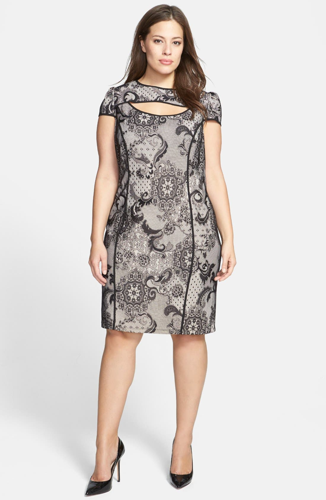 Main Image - ABS by Allen Schwartz Cutout Lace Sheath Dress (Plus Size)