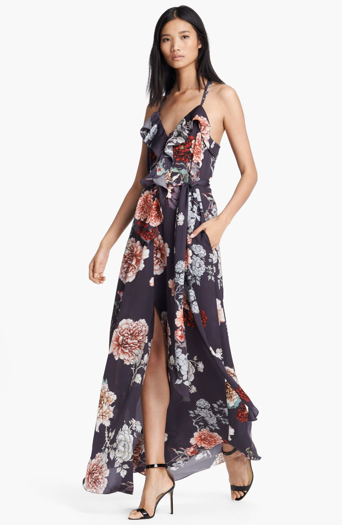 Alternate Image 1 Selected - L'AGENCE Floral Print Ruffle Front Dress