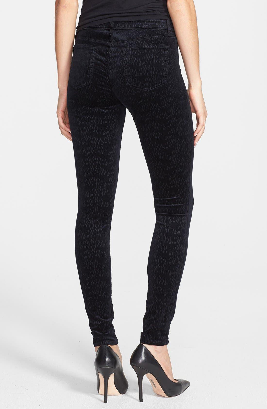 Alternate Image 2  - J Brand '815' Patterned Velvet Skinny Jeans