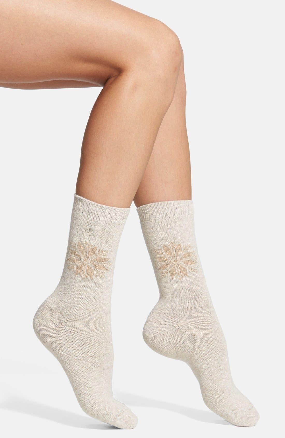 Alternate Image 1 Selected - Ralph Lauren Snowflake Socks