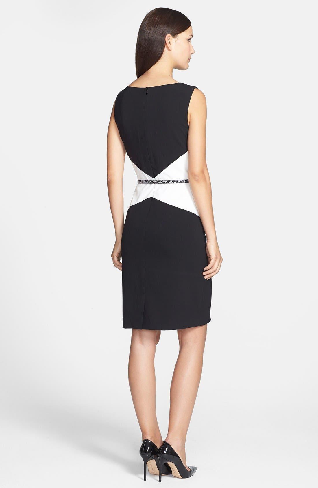 Alternate Image 2  - Calvin Klein Belted Colorblock Sheath Dress