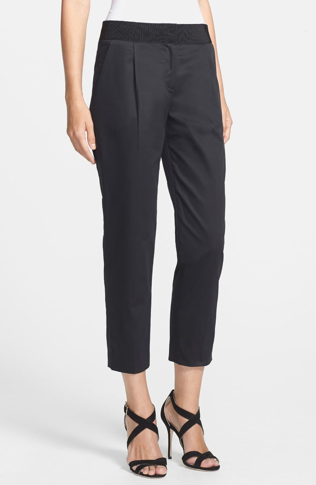 Main Image - Milly 'Laney' Cropped Stretch Cotton Trousers