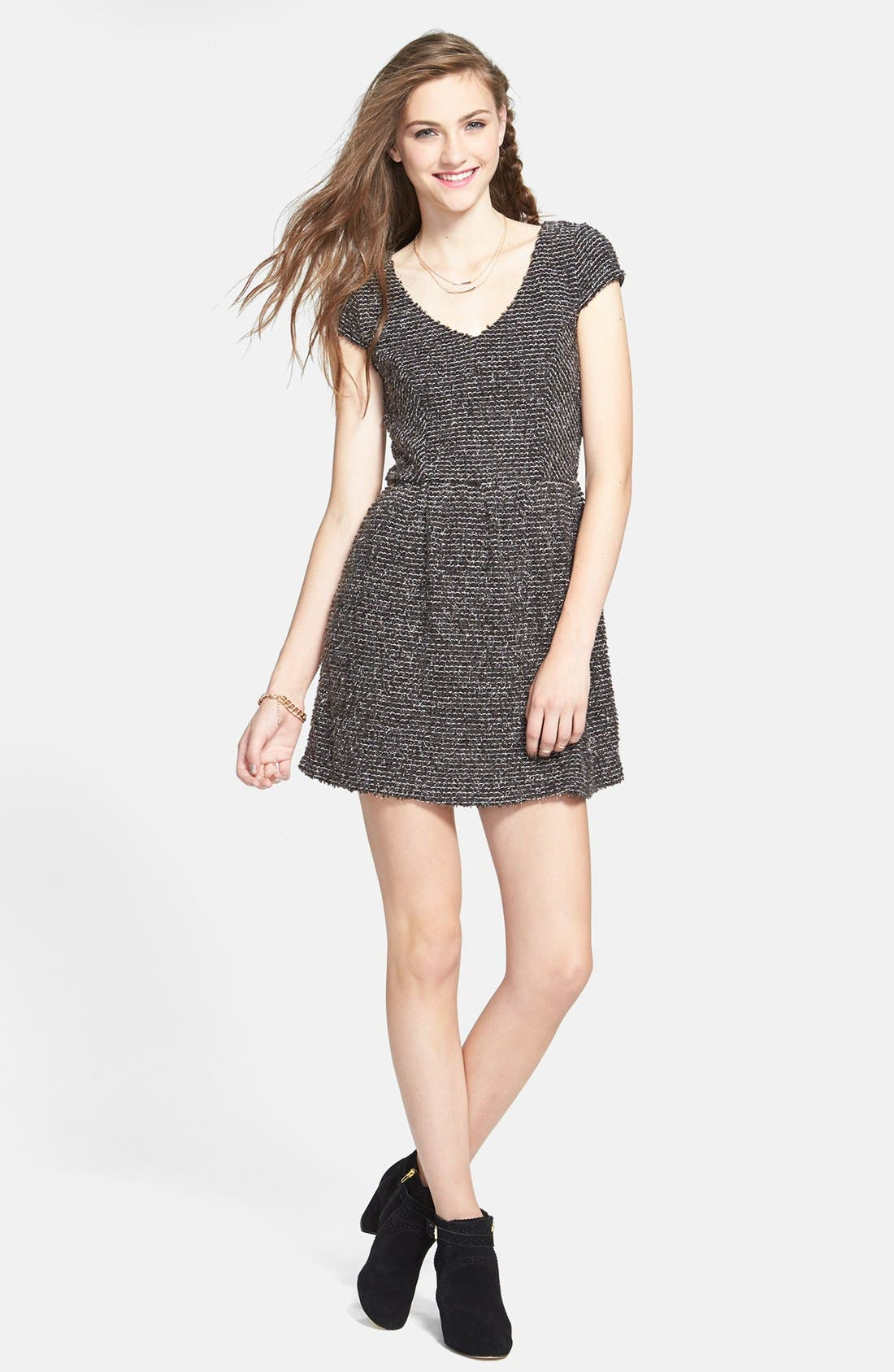 Main Image - Socialite Textured Skater Dress (Juniors)