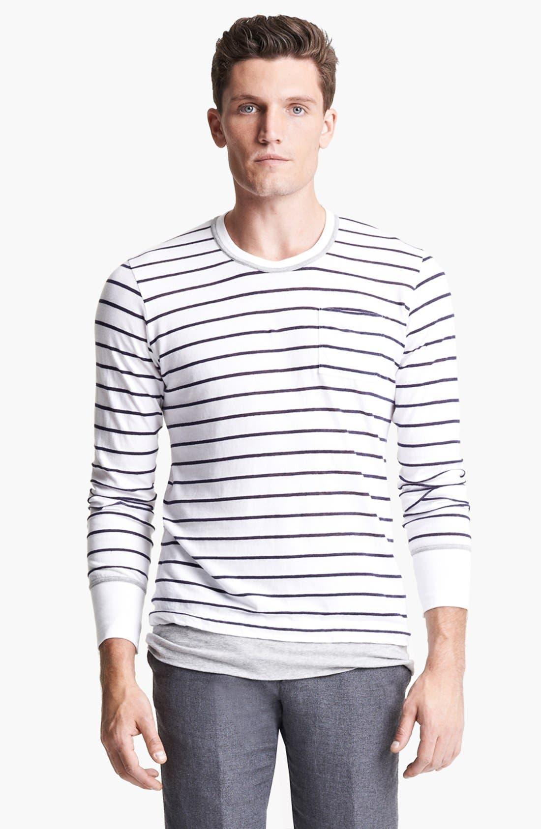 Alternate Image 1 Selected - Michael Bastian Stripe Cotton & Linen Long Sleeve T-Shirt