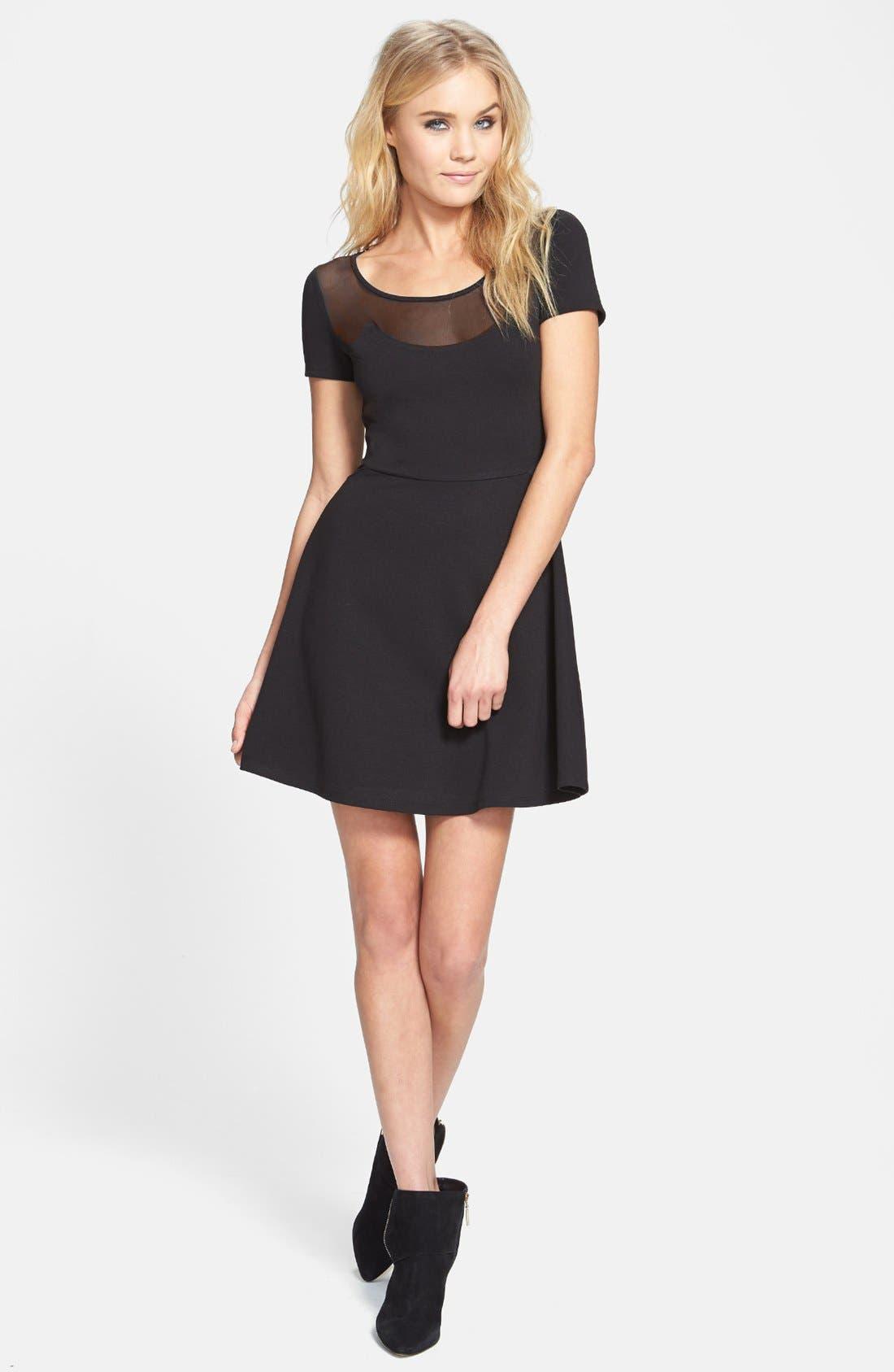 Main Image - Like Mynded Mesh Inset Skater Dress