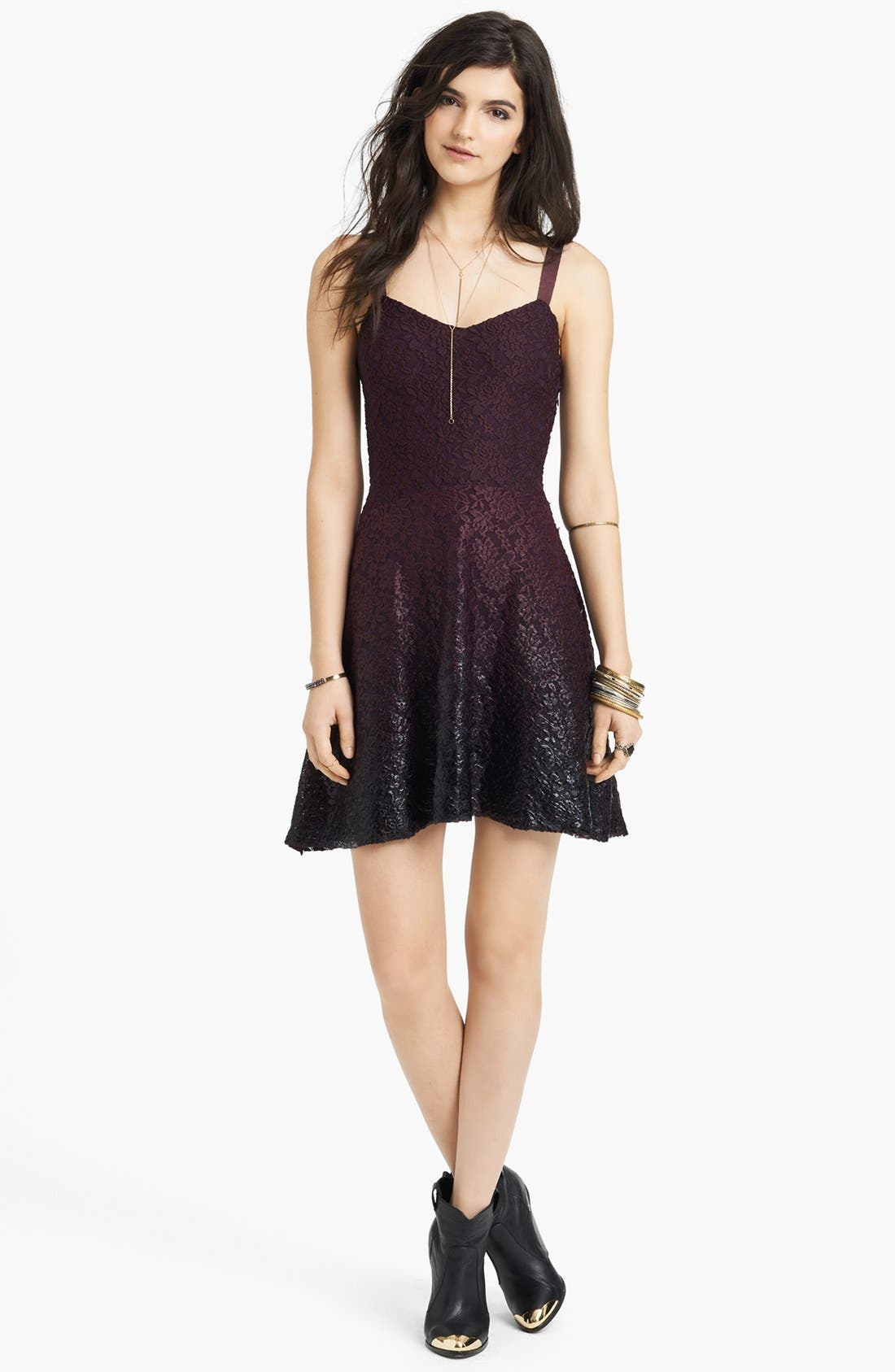 Alternate Image 1 Selected - Free People Foiled Ombré Lace Fit & Flare Dress