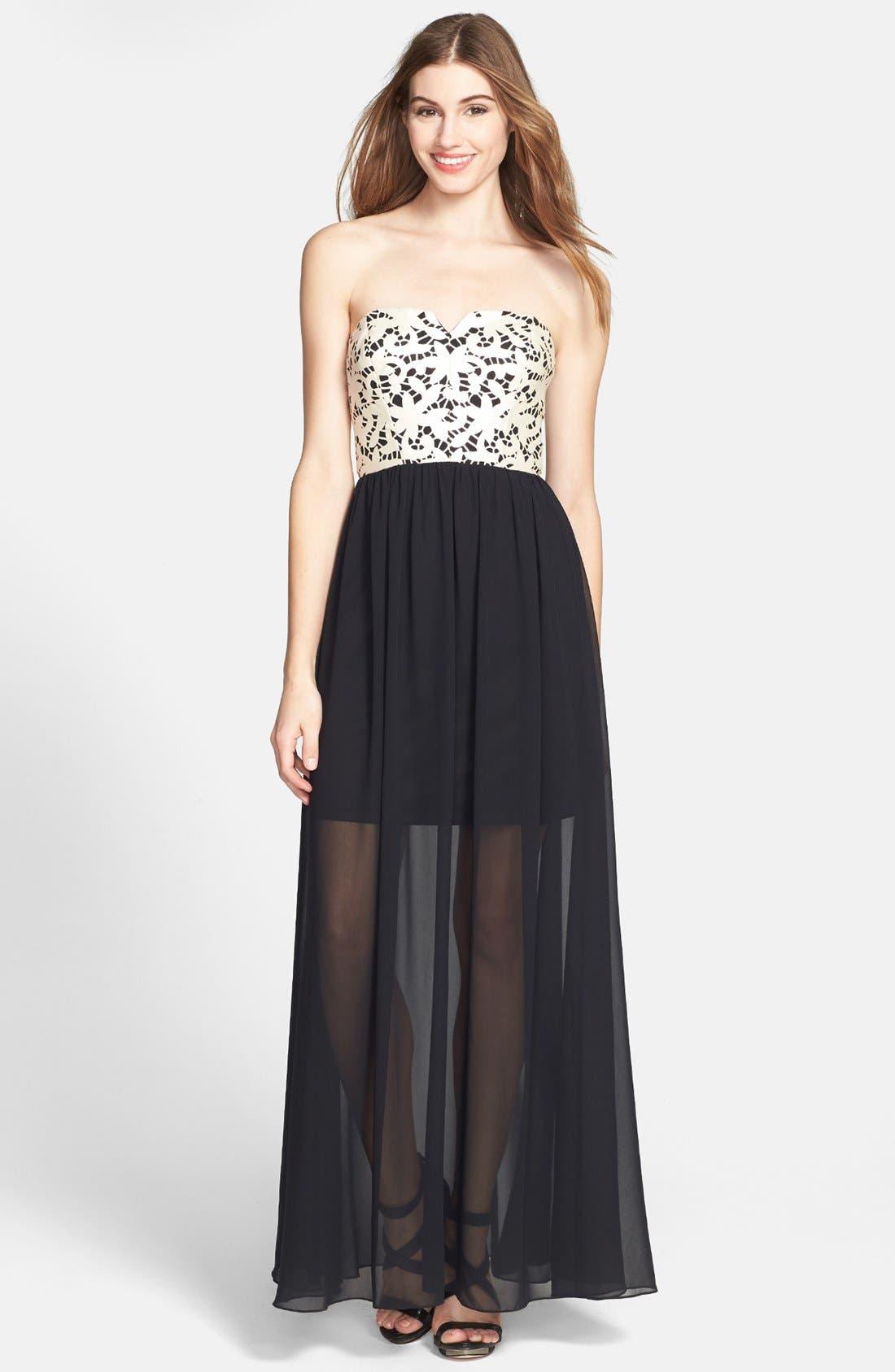 Main Image - Betsey Johnson Laser Cut Faux Leather & Chiffon Maxi Dress