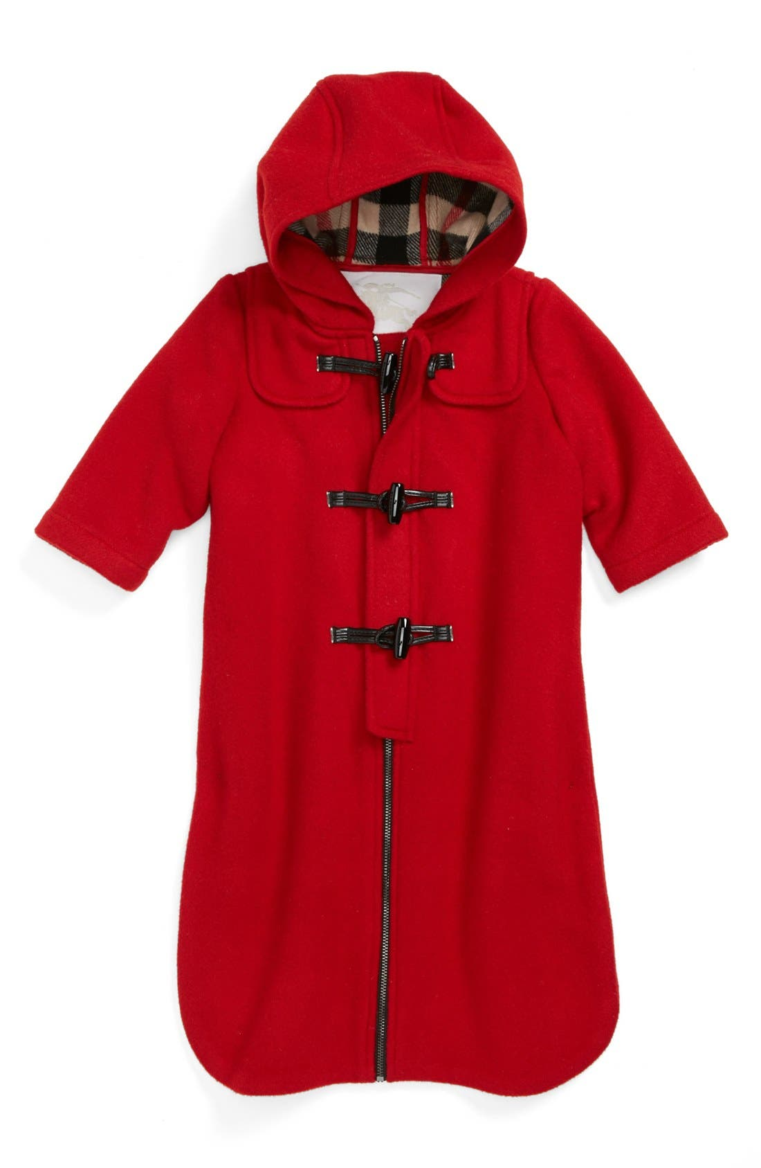 Main Image - Burberry Hooded Wool Bunting (Baby Girls)