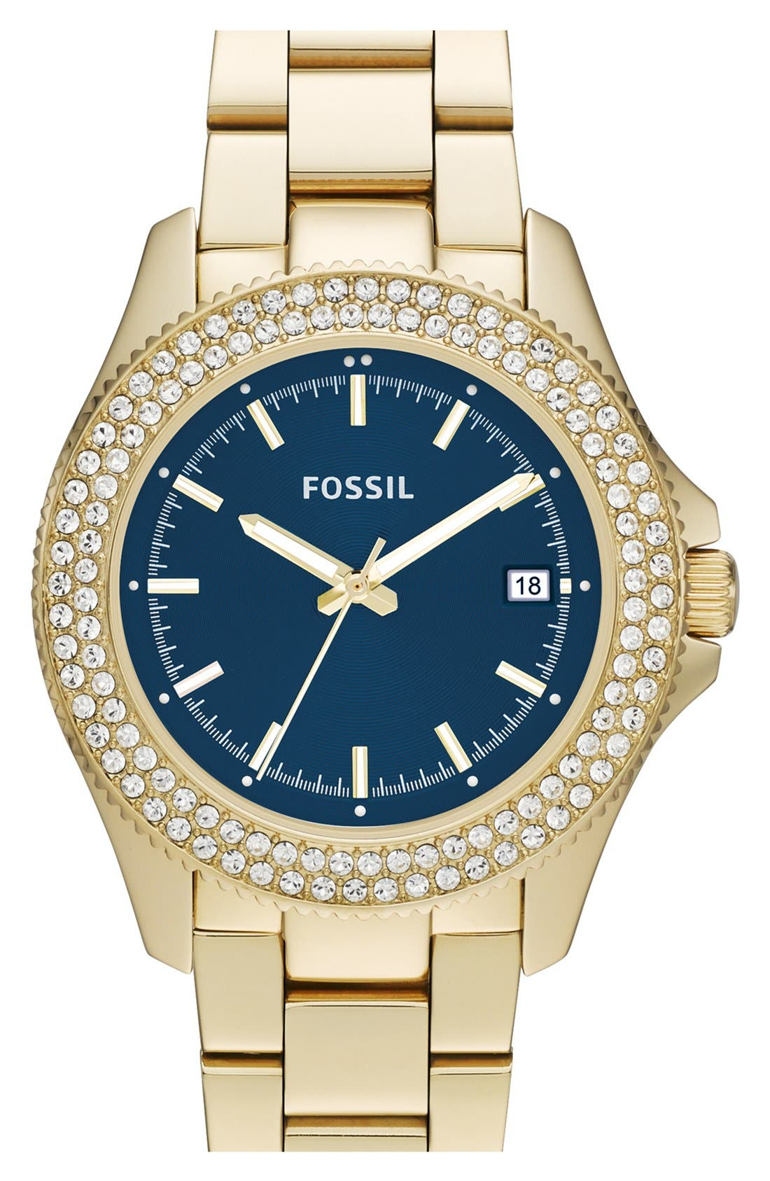 Alternate Image 1 Selected - Fossil Round Crystal Bezel Bracelet Watch, 36mm