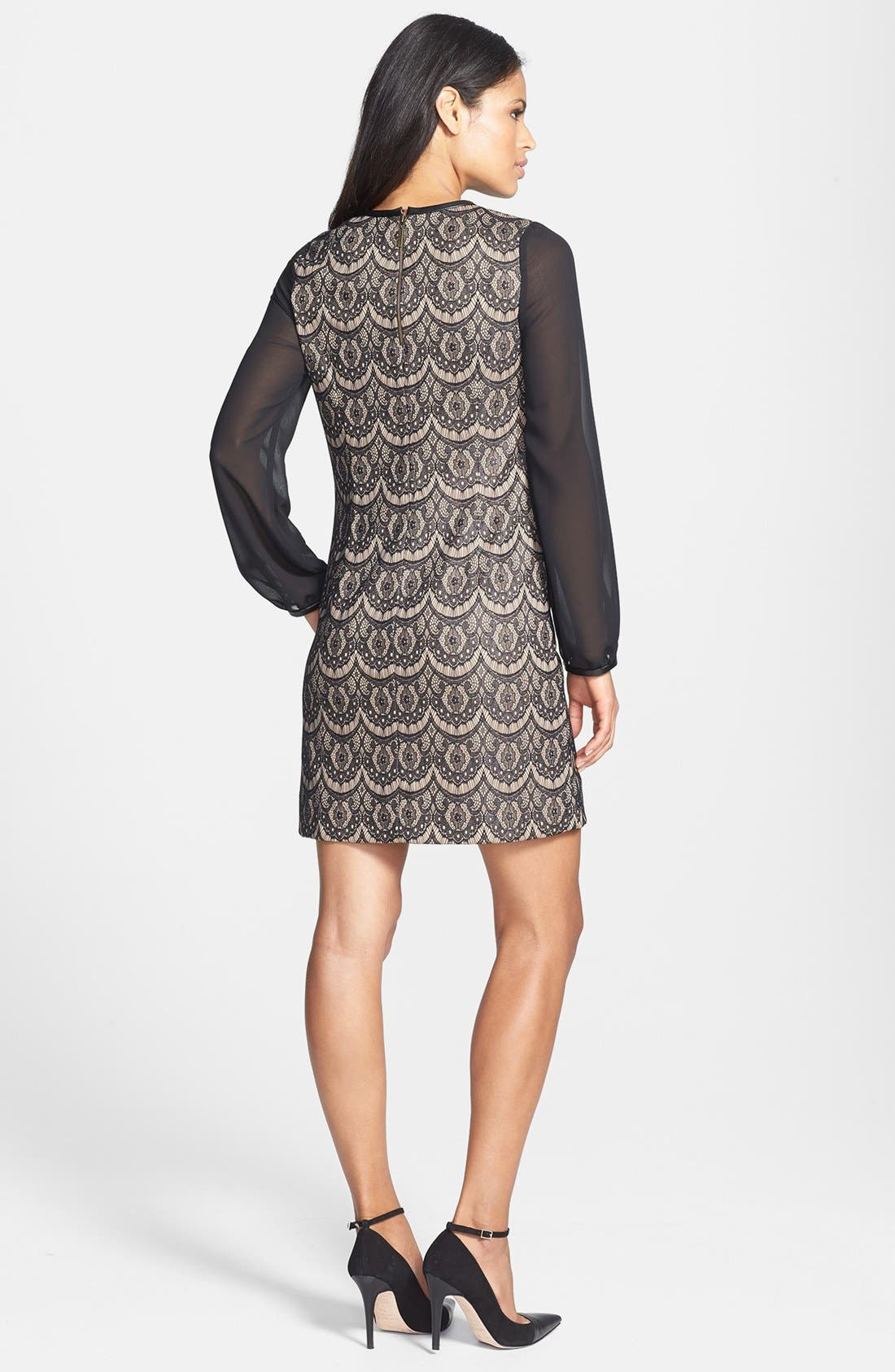 Alternate Image 2  - Donna Ricco Blouson Sleeve Lace Shift Dress (Regular & Petite)