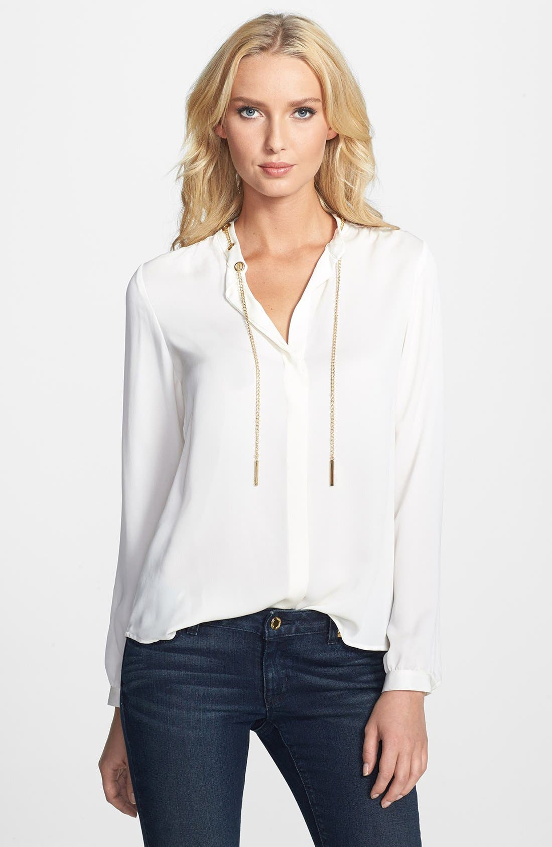 Alternate Image 1 Selected - MICHAEL Michael Kors Chain Detail Long Sleeve Blouse