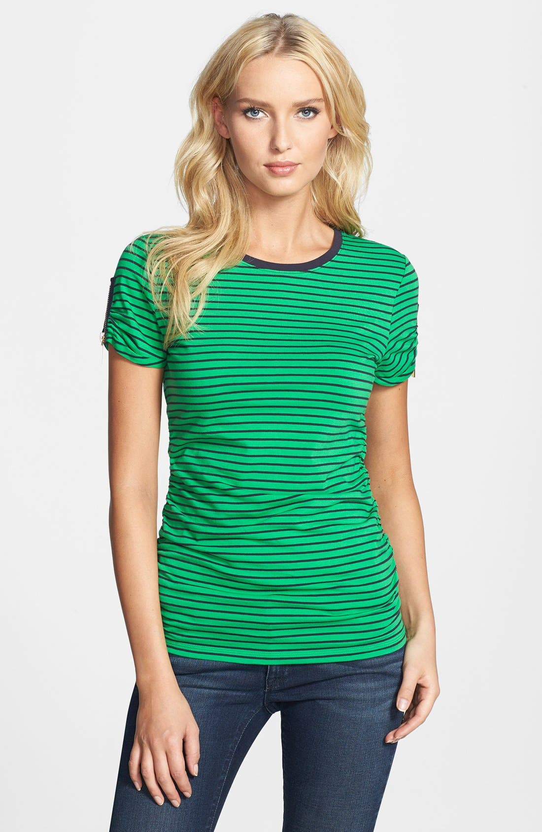 Alternate Image 1 Selected - MICHAEL Michael Kors Zip Sleeve Crewneck Tee
