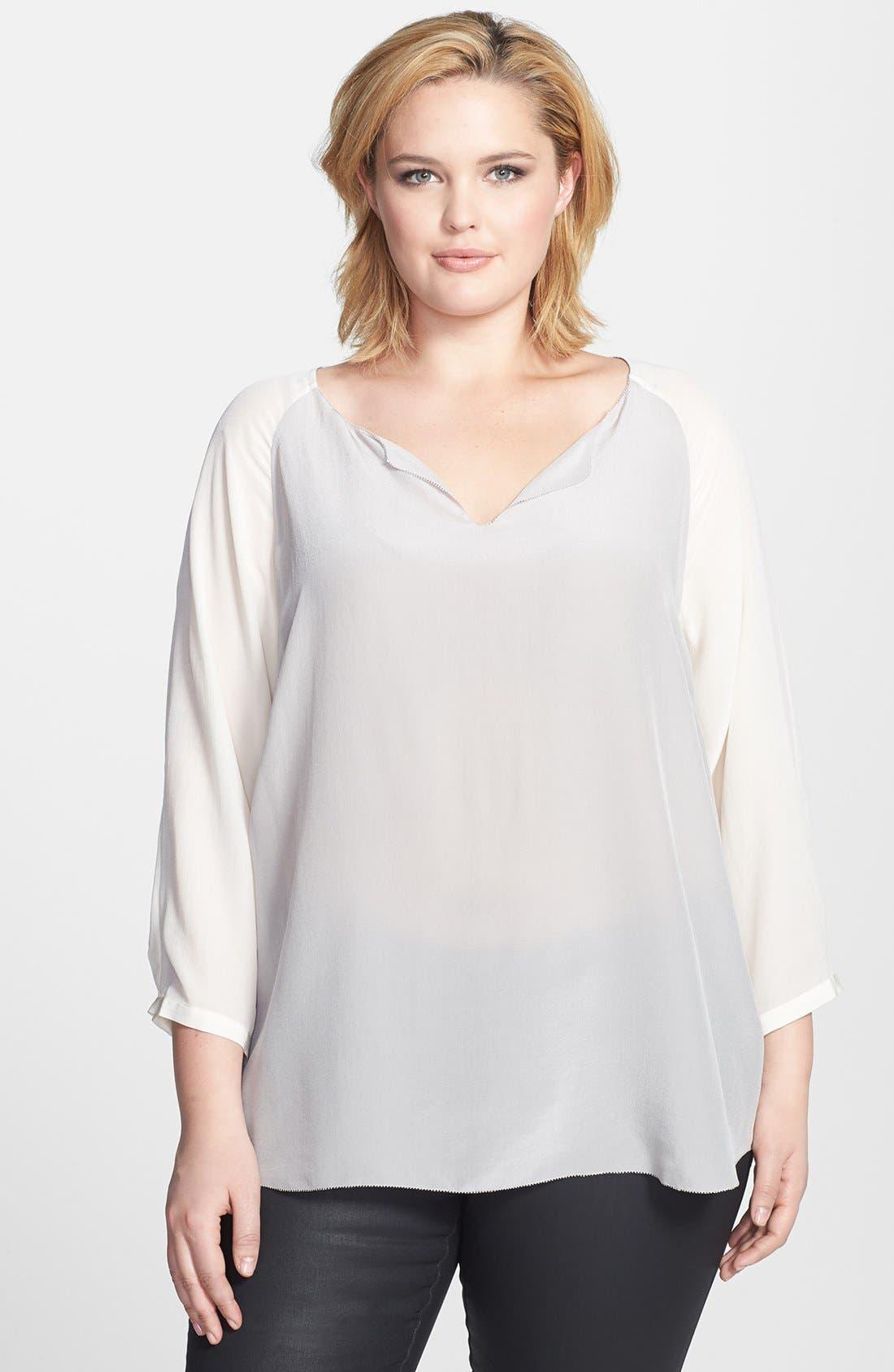 Alternate Image 1 Selected - Eileen Fisher Silk Split Neckline Top (Plus Size)