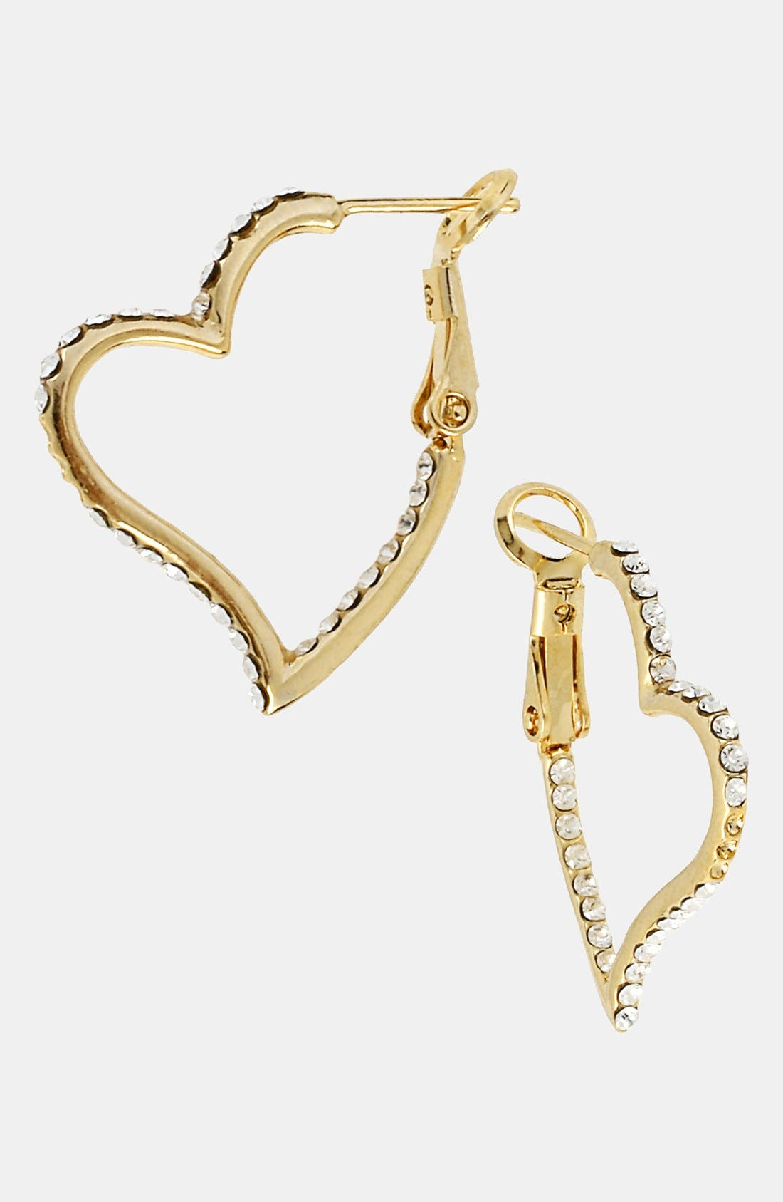 Alternate Image 1 Selected - Betsey Johnson 'Iconic Pinkalicious' Heart Inside Out Hoop Earrings