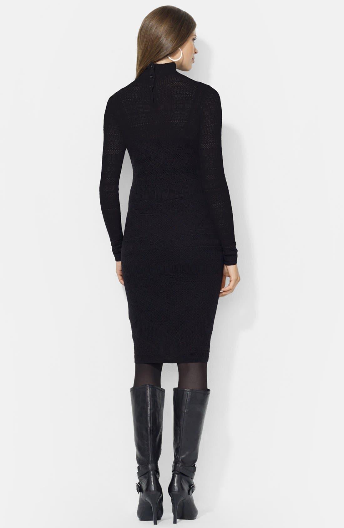Alternate Image 2  - Lauren Ralph Lauren Mock Neck Pointelle Sweater Dress (Petite)