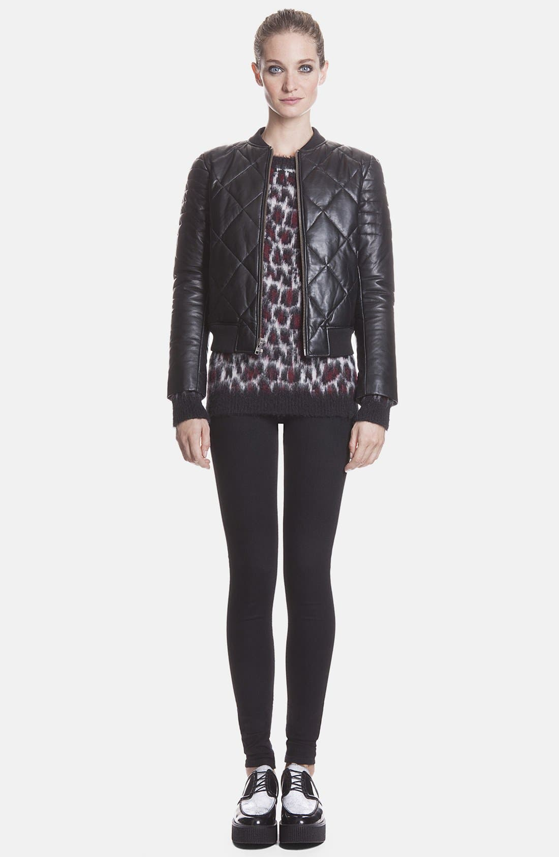 Alternate Image 1 Selected - sandro 'Virage' Quilted Leather Bomber Jacket