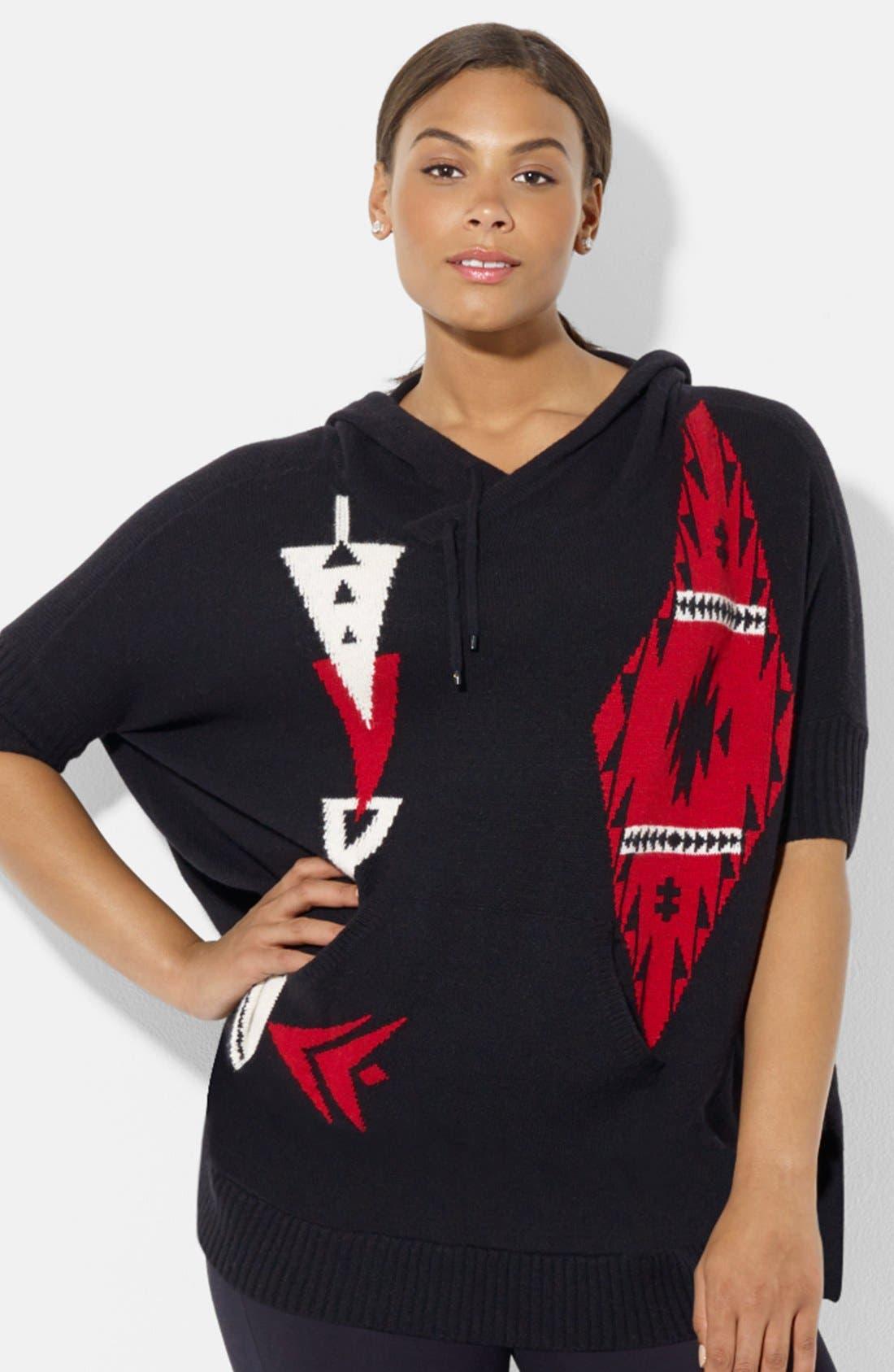 Alternate Image 1 Selected - Lauren Ralph Lauren Hooded Poncho Sweater (Plus Size)