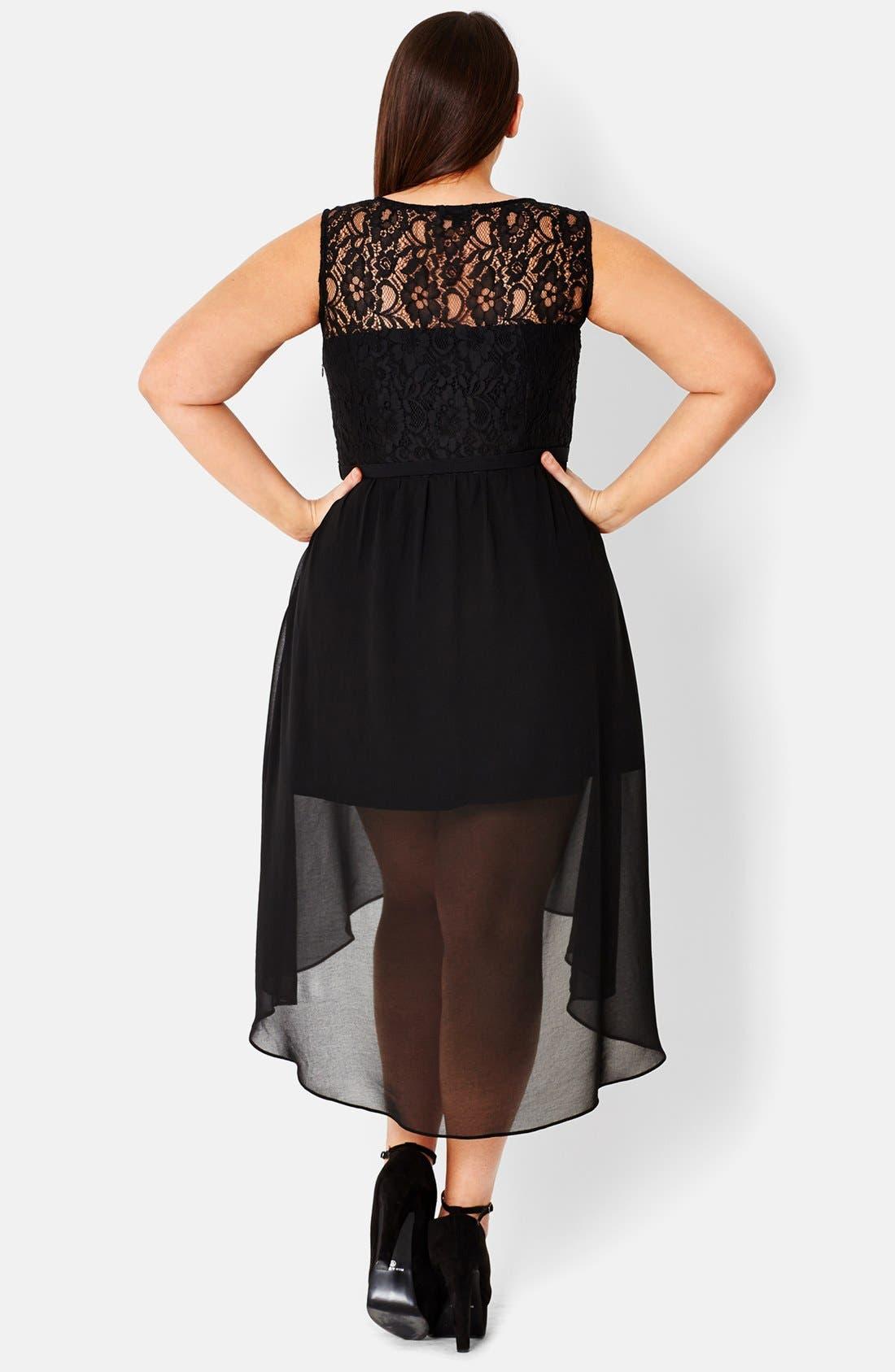 Alternate Image 2  - City Chic Lace Trim High/Low Chiffon Overlay Dress (Plus Size)