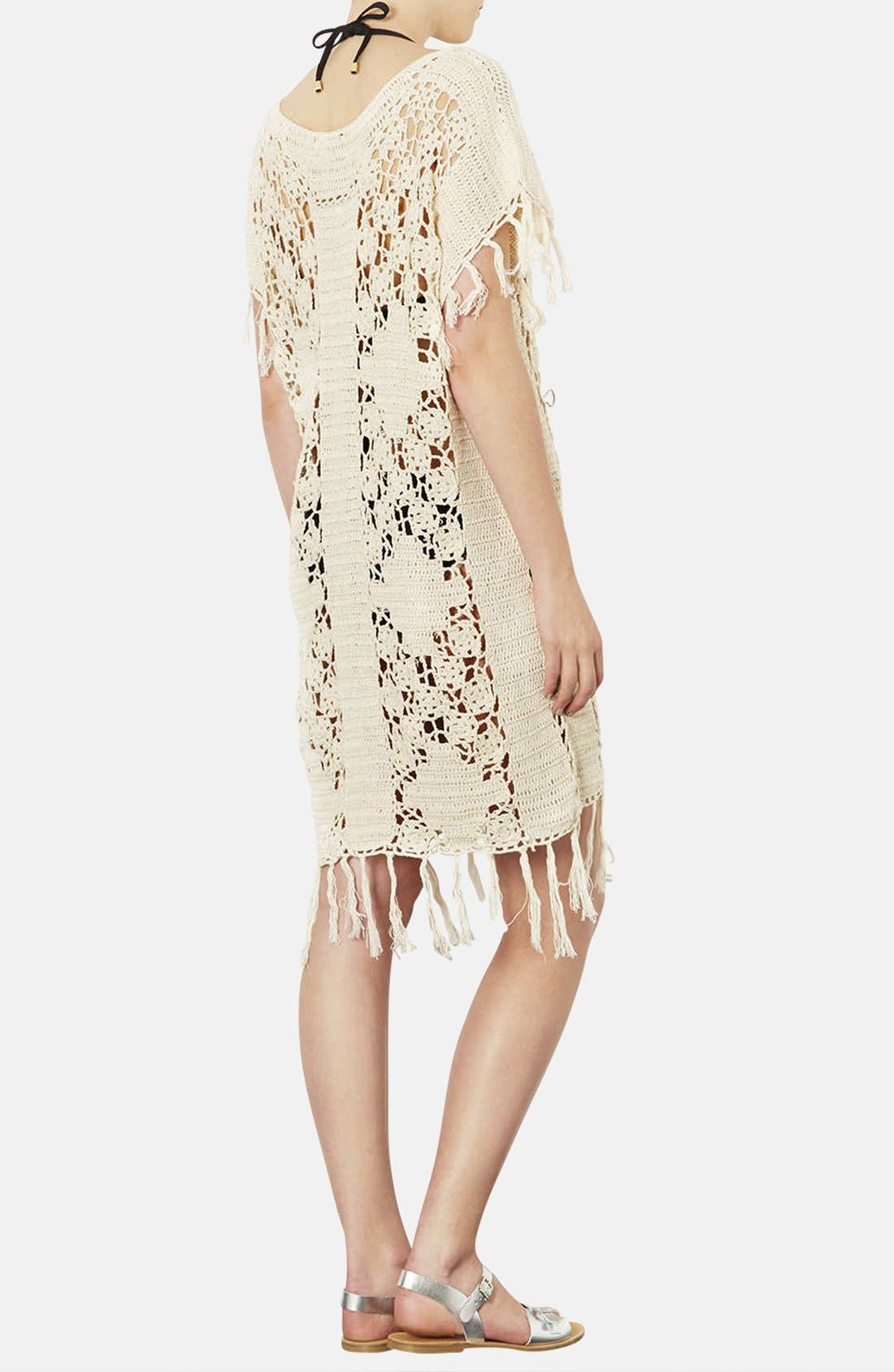 Alternate Image 2  - Topshop Fringed Crocheted Cover-Up