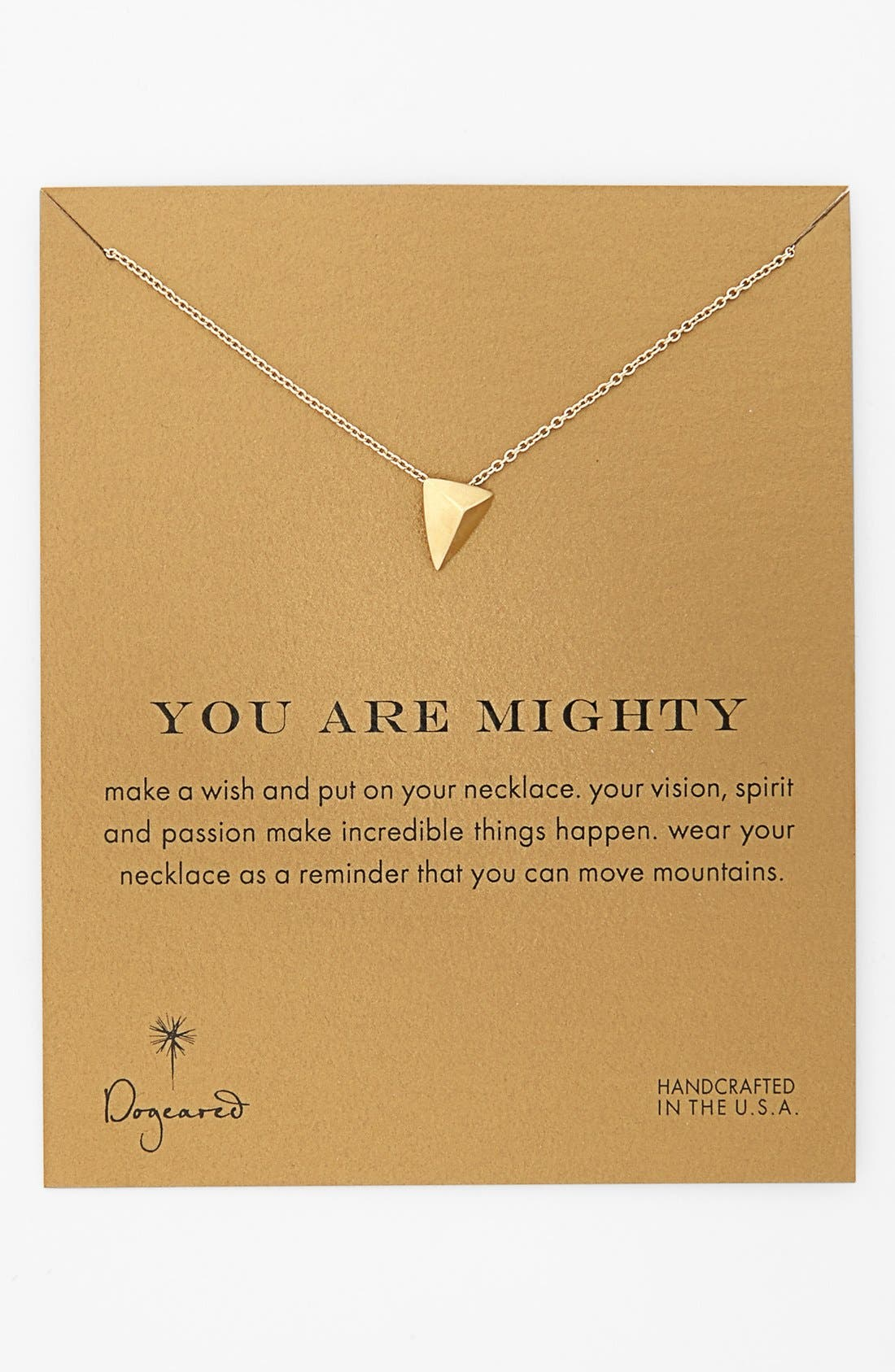 Alternate Image 1 Selected - Dogeared 'Reminder - You Are Mighty' Pyramid Pendant Necklace