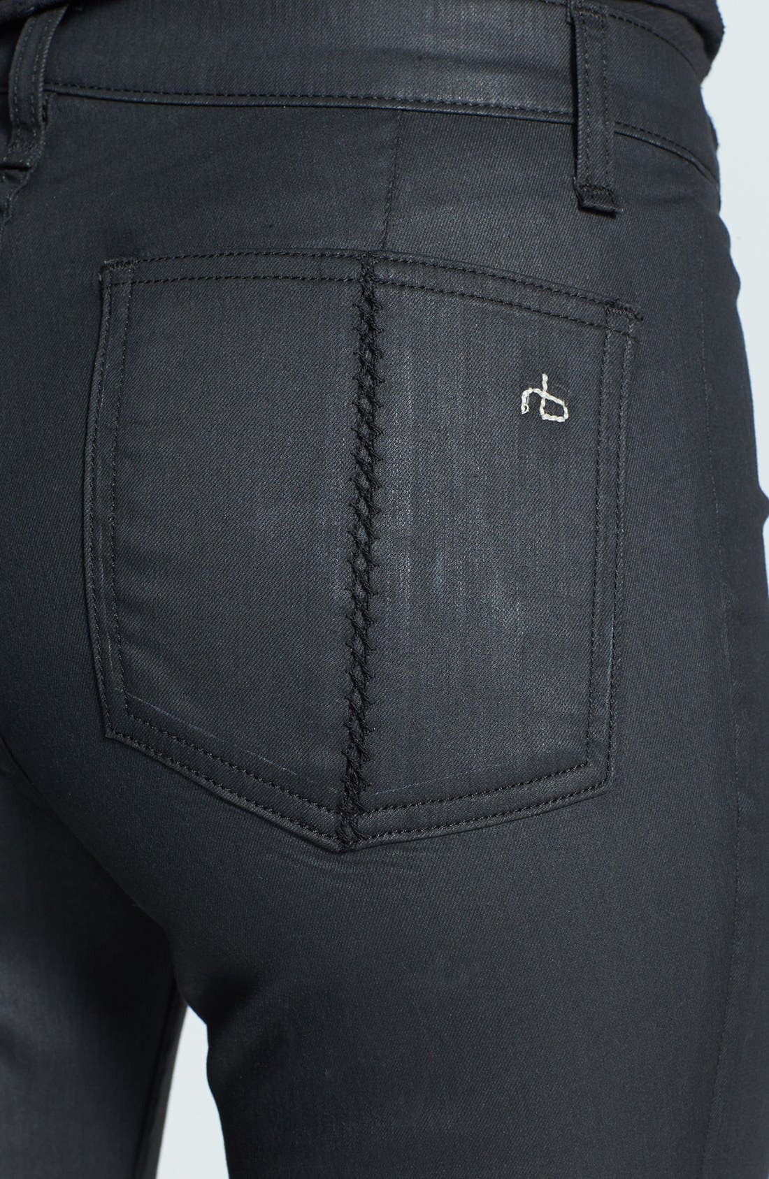 Alternate Image 3  - rag & bone/JEAN 'Separating' Coated Open Detail Skinny Jeans (Shore Ditch)